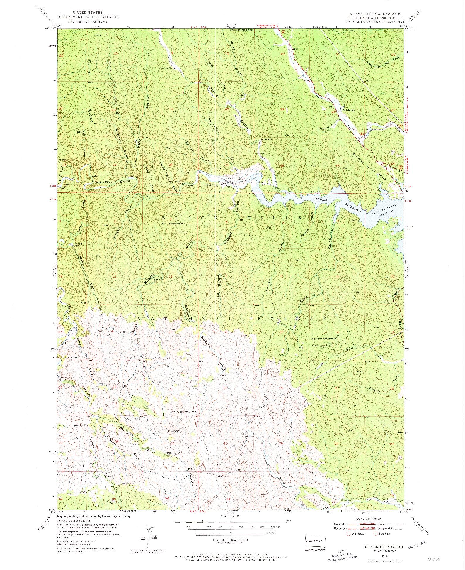 USGS 1:24000-SCALE QUADRANGLE FOR SILVER CITY, SD 1954
