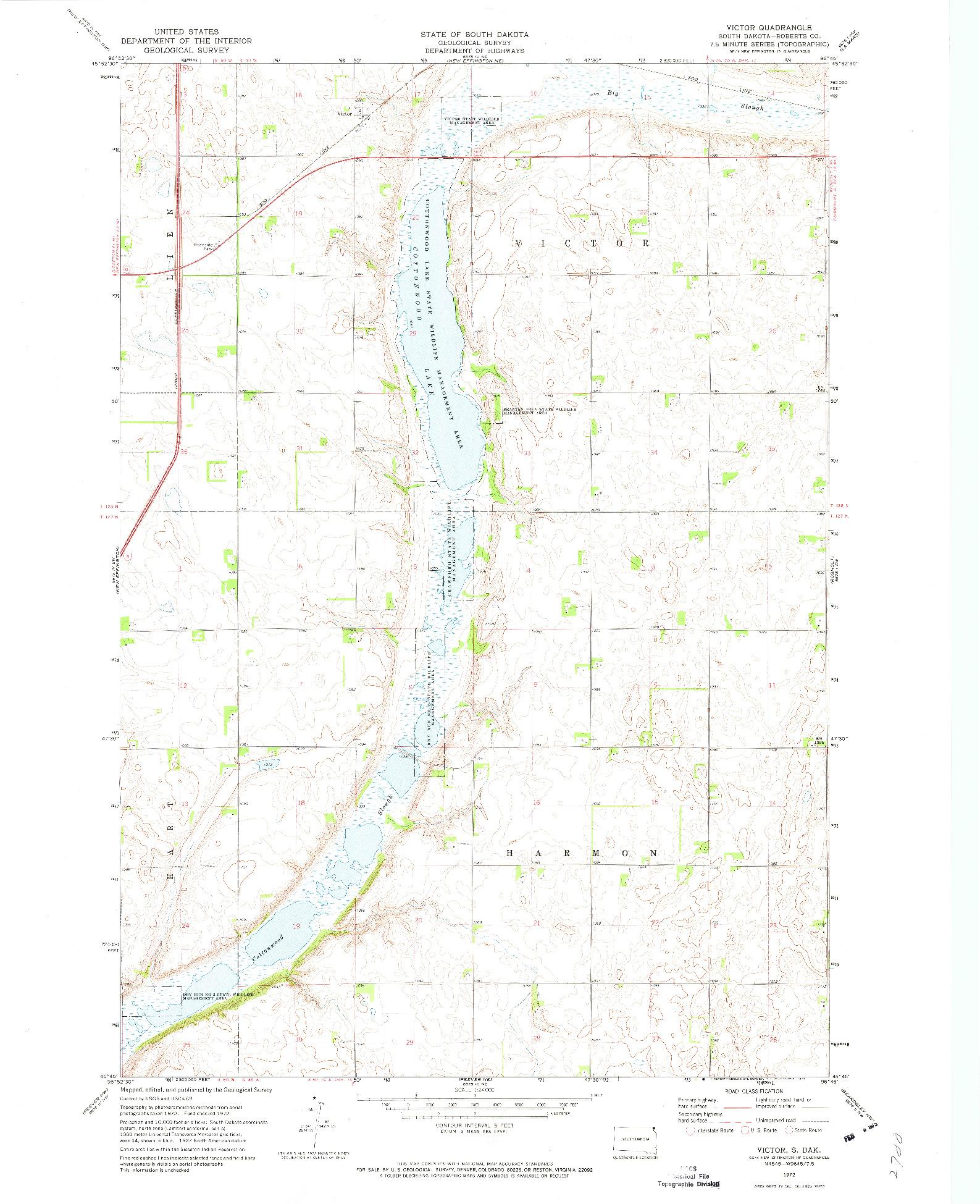 USGS 1:24000-SCALE QUADRANGLE FOR VICTOR, SD 1972
