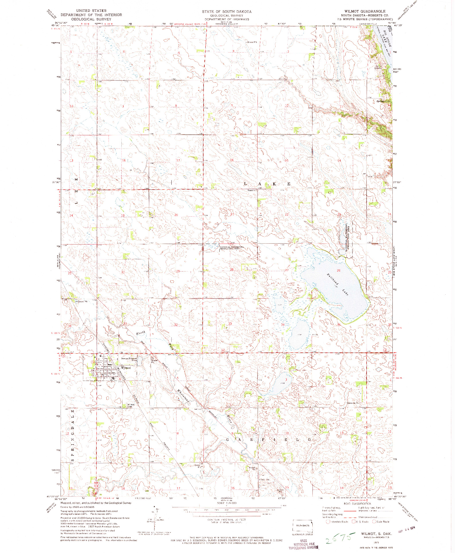 USGS 1:24000-SCALE QUADRANGLE FOR WILMOT, SD 1971