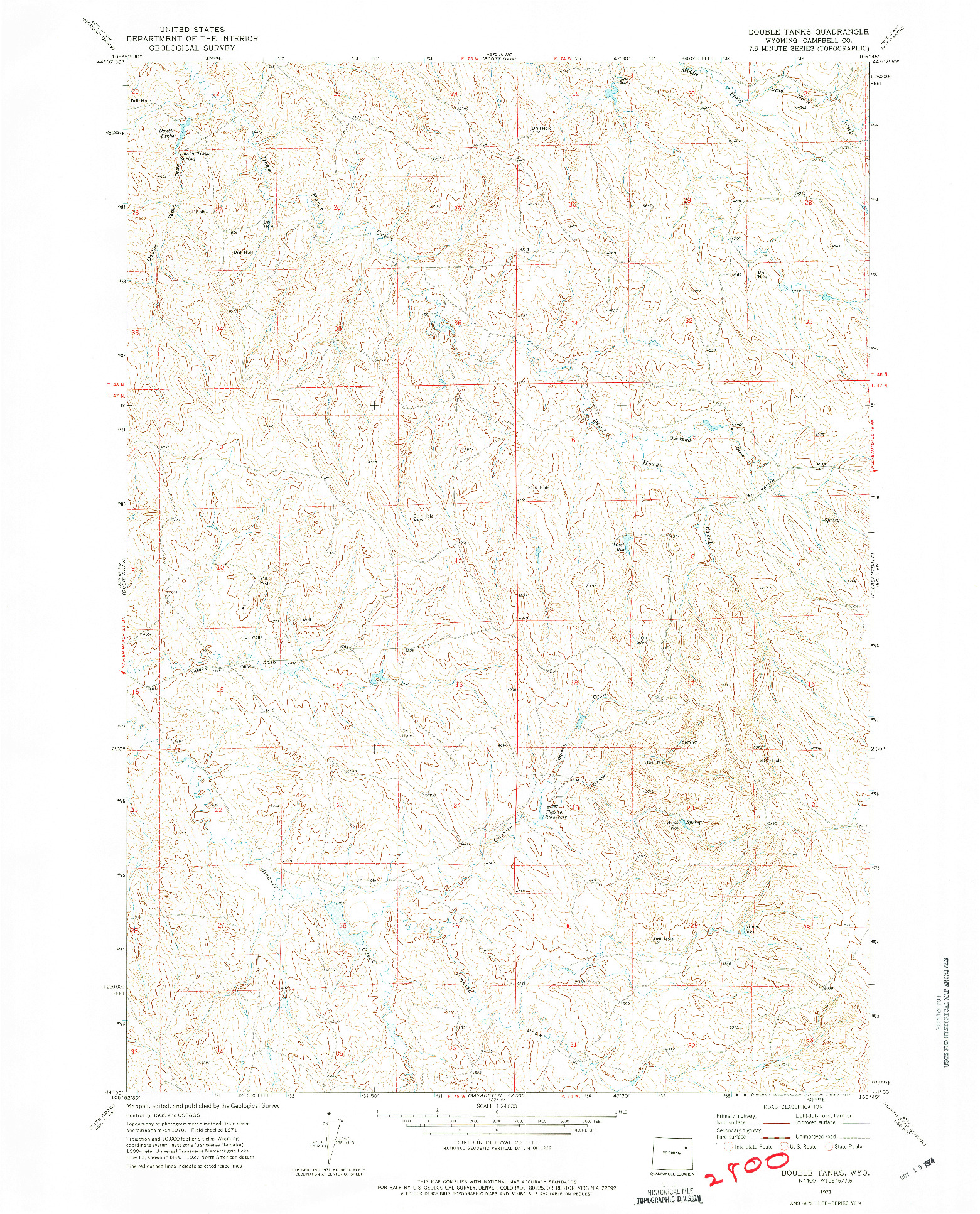 USGS 1:24000-SCALE QUADRANGLE FOR DOUBLE TANKS, WY 1971