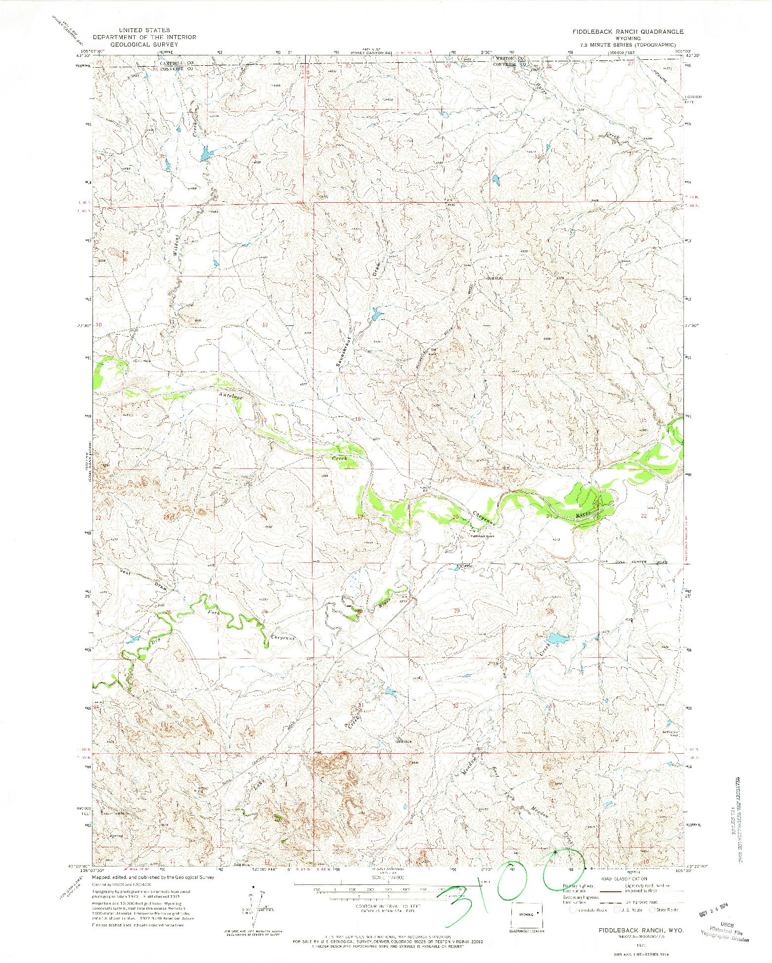 USGS 1:24000-SCALE QUADRANGLE FOR FIDDLEBACK RANCH, WY 1971
