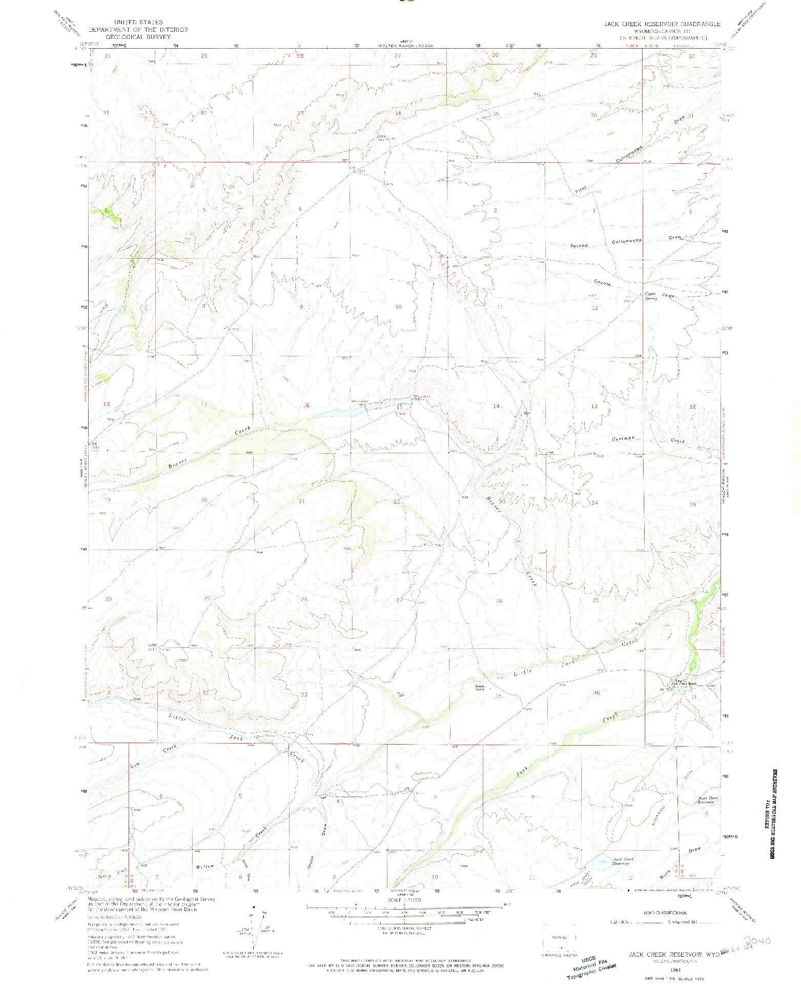 USGS 1:24000-SCALE QUADRANGLE FOR JACK CREEK RESERVOIR, WY 1961