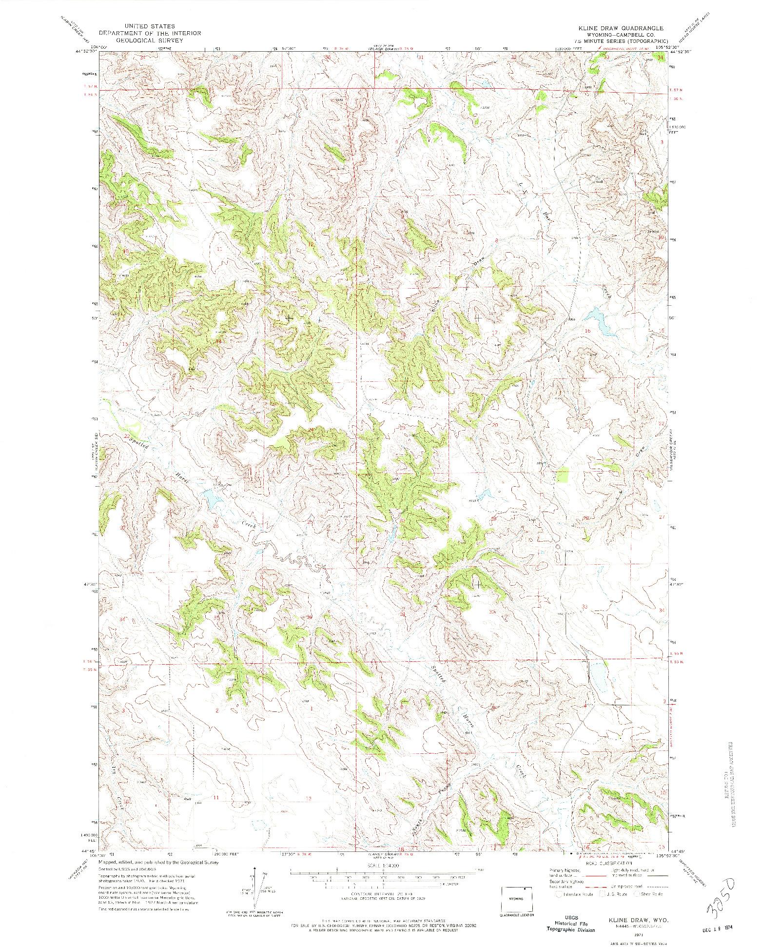 USGS 1:24000-SCALE QUADRANGLE FOR KLINE DRAW, WY 1971