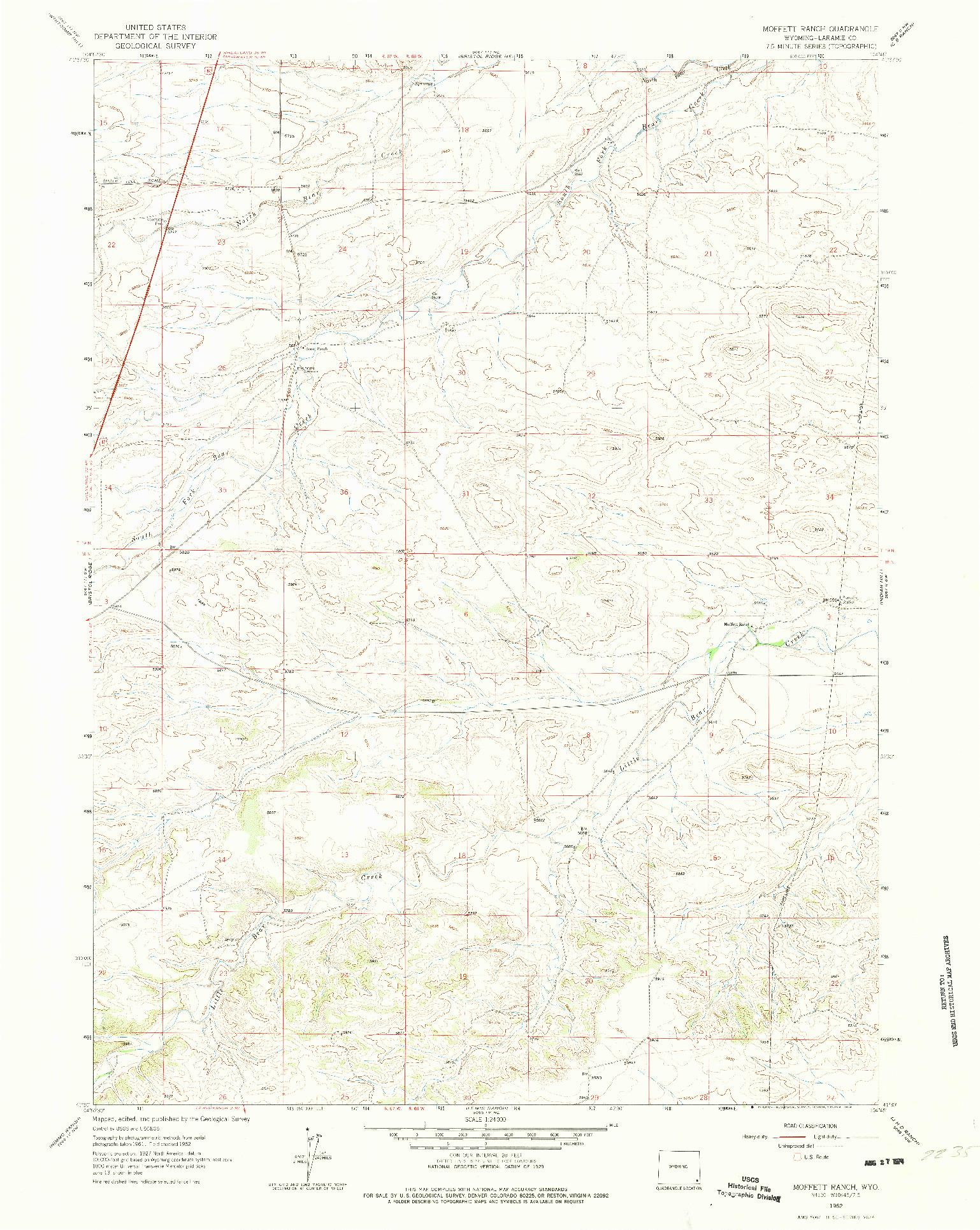USGS 1:24000-SCALE QUADRANGLE FOR MOFFETT RANCH, WY 1962