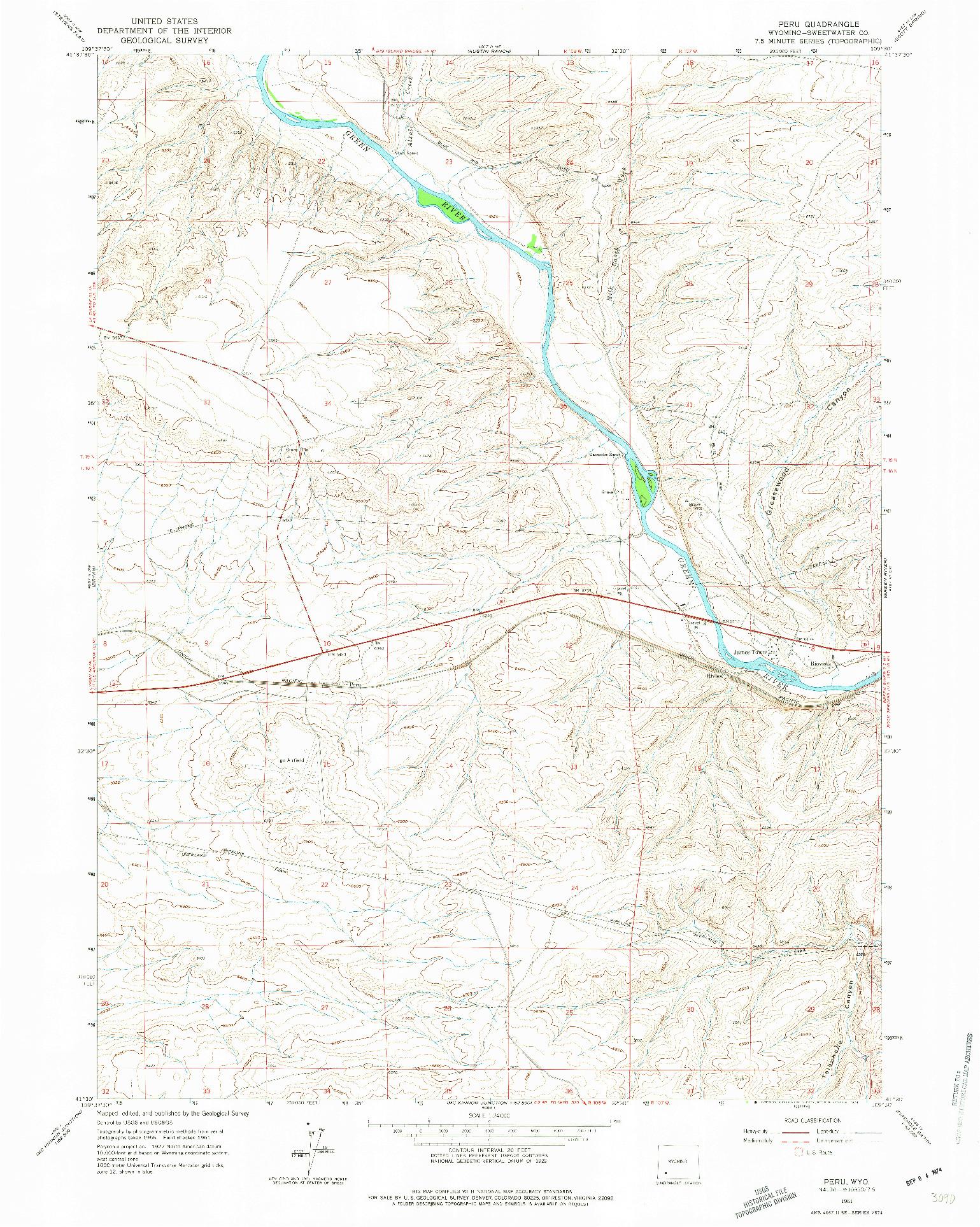 USGS 1:24000-SCALE QUADRANGLE FOR PERU, WY 1961
