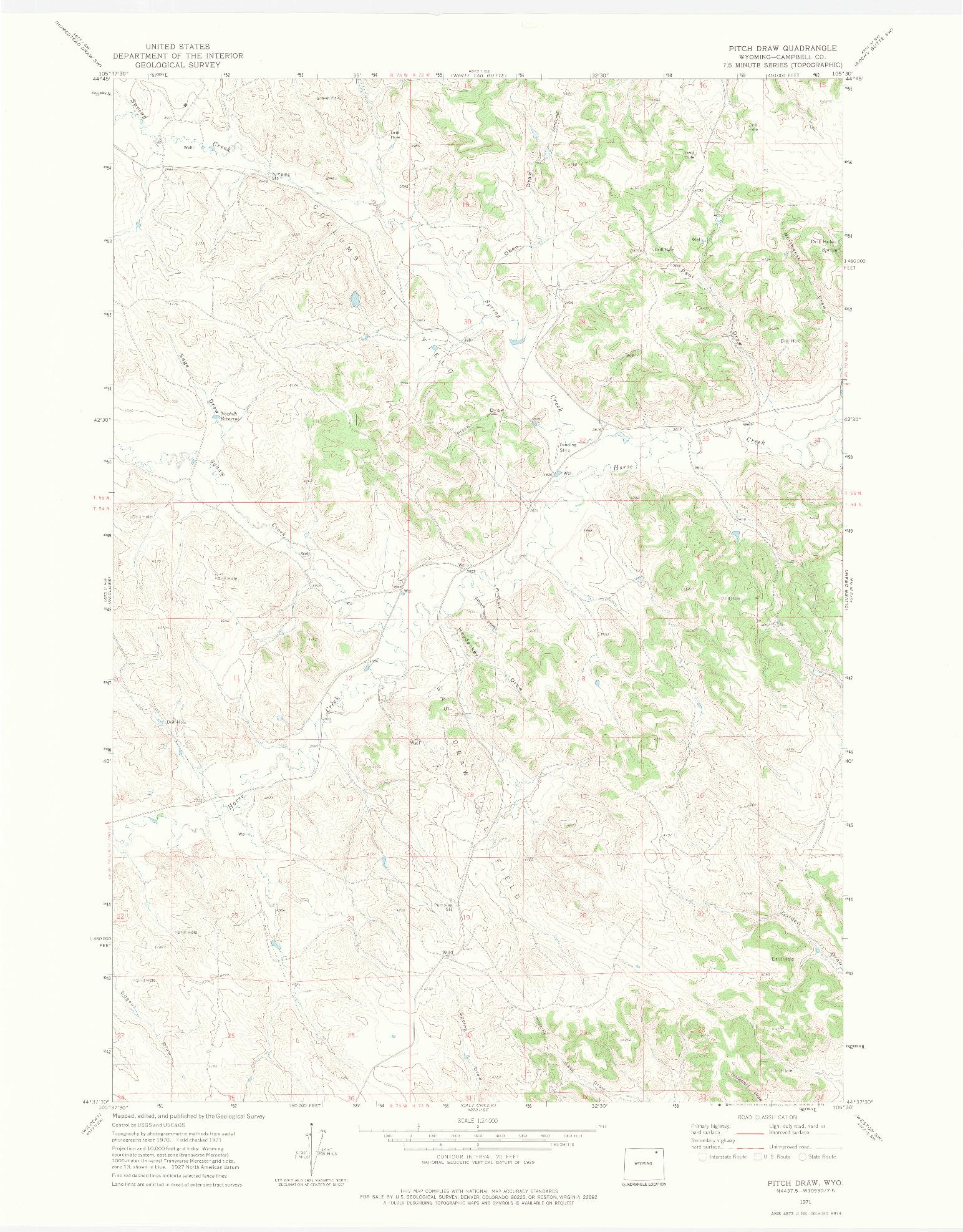 USGS 1:24000-SCALE QUADRANGLE FOR PITCH DRAW, WY 1971