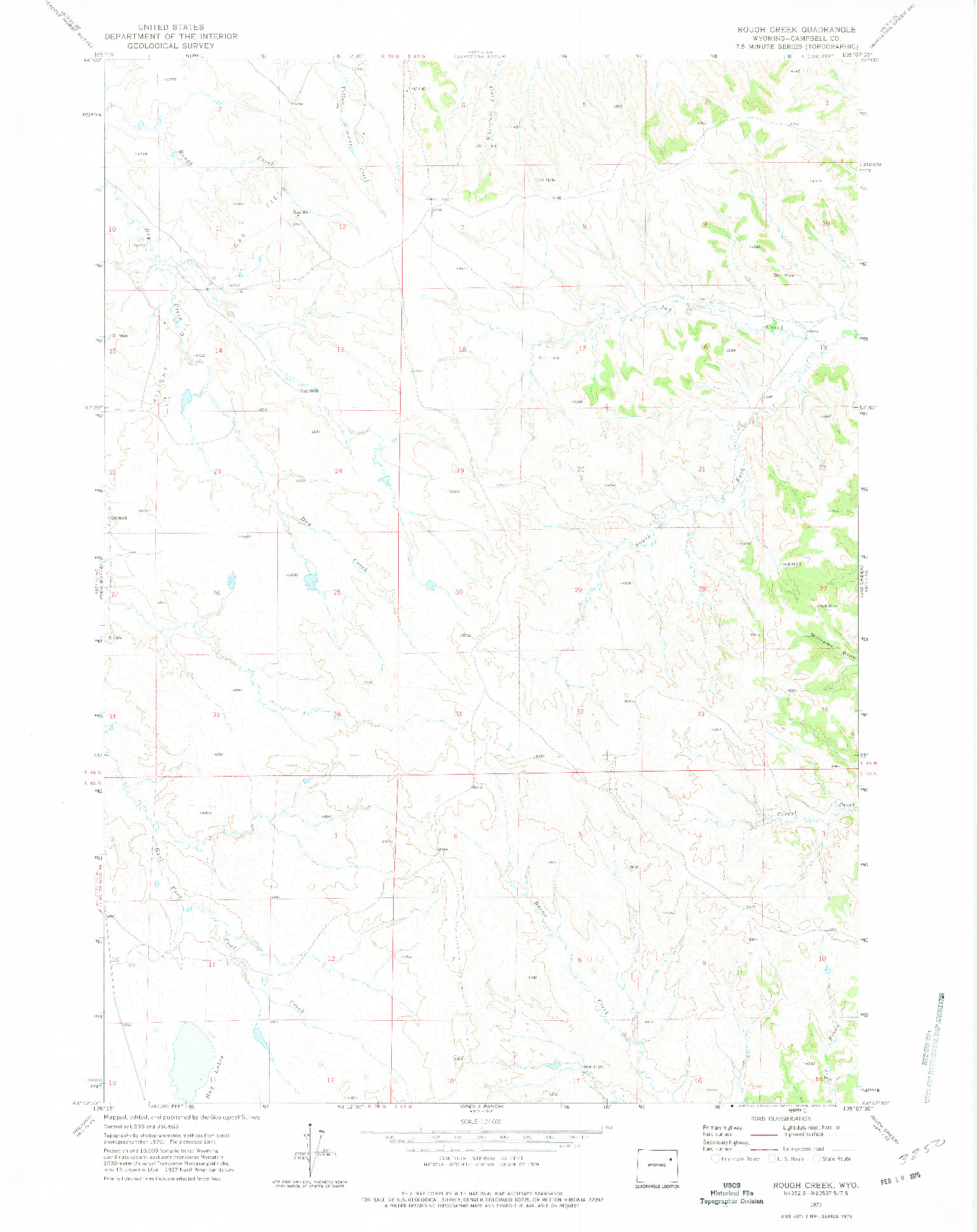 USGS 1:24000-SCALE QUADRANGLE FOR ROUGH CREEK, WY 1971