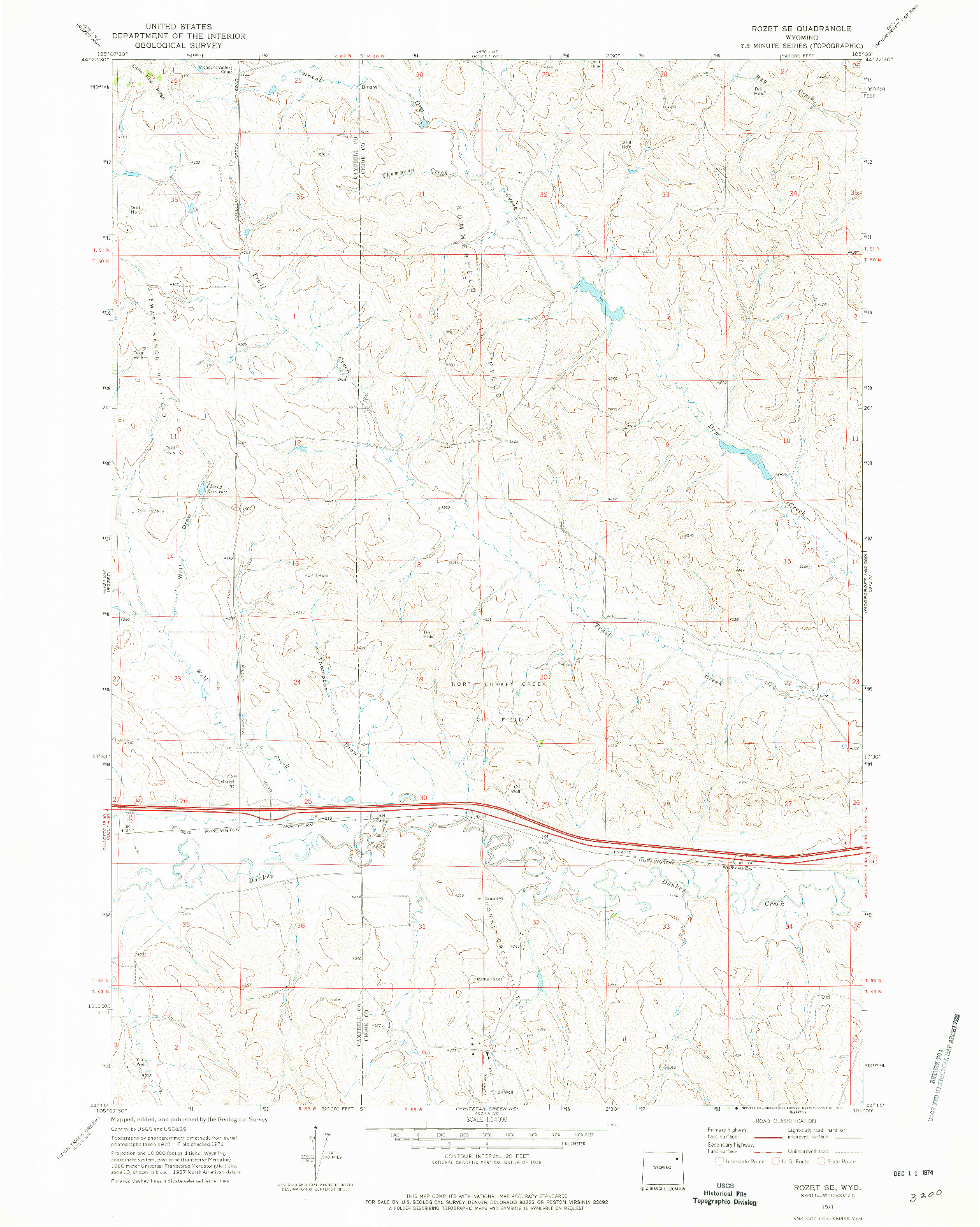 USGS 1:24000-SCALE QUADRANGLE FOR ROZET SE, WY 1971