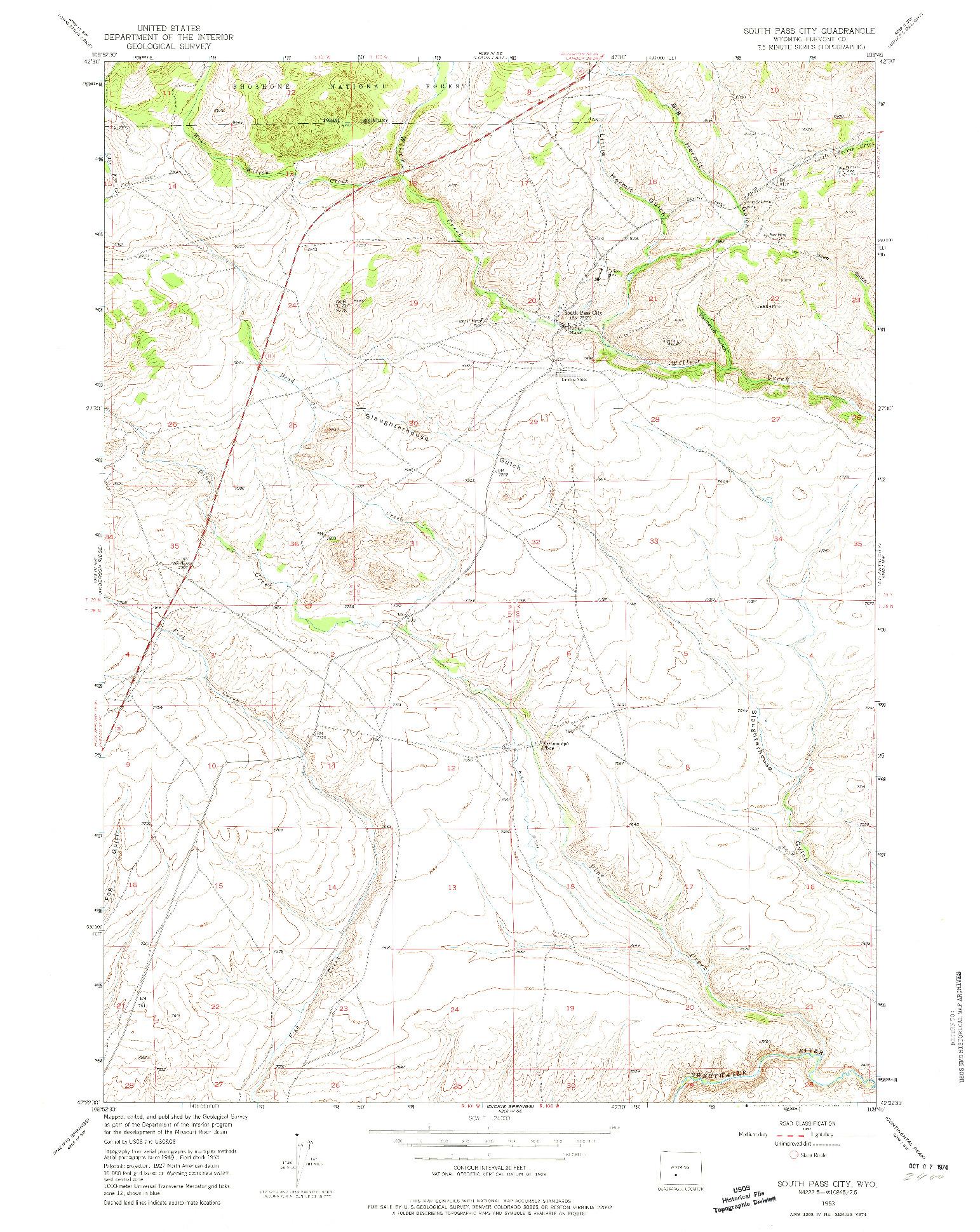 USGS 1:24000-SCALE QUADRANGLE FOR SOUTH PASS CITY, WY 1953