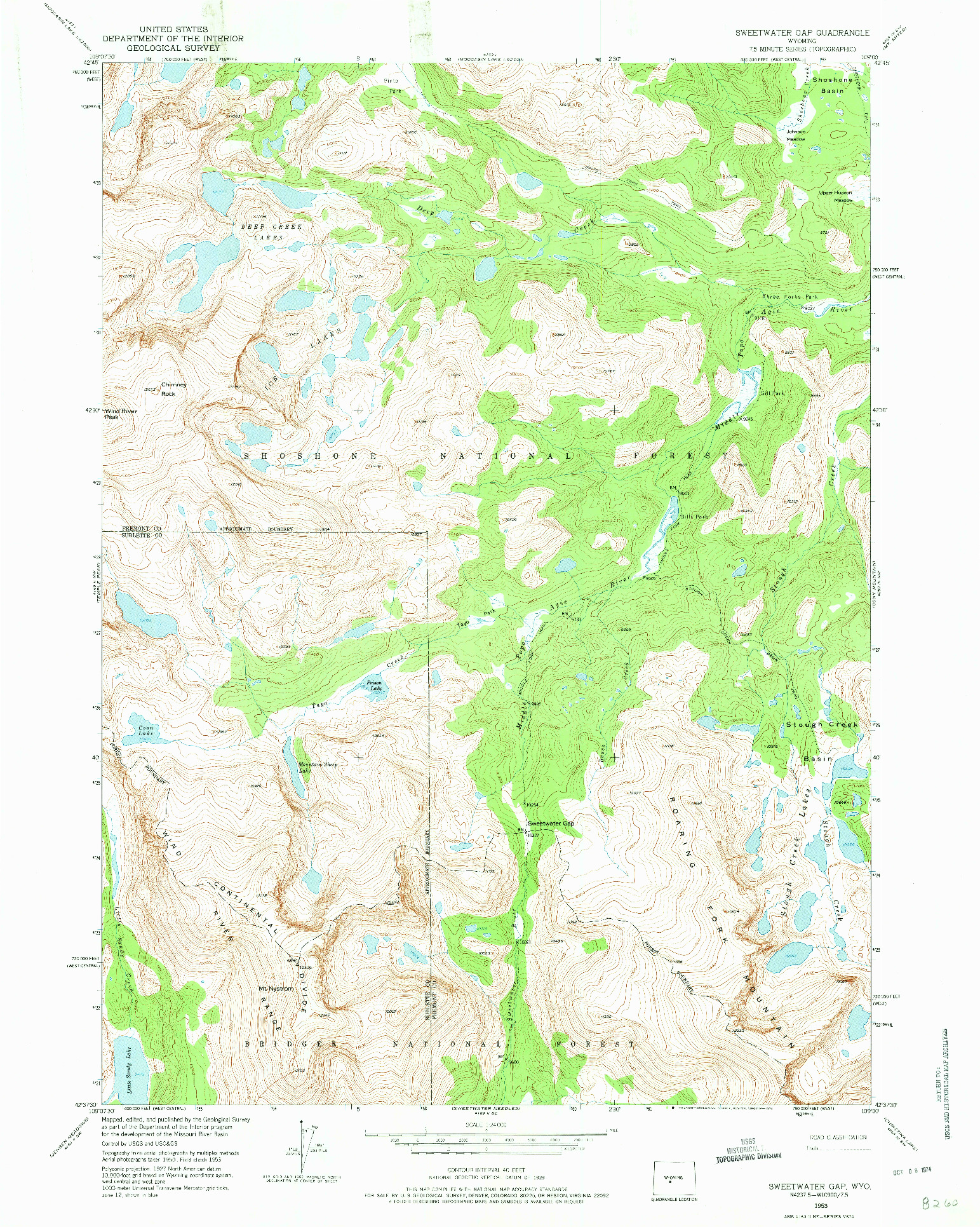USGS 1:24000-SCALE QUADRANGLE FOR SWEETWATER GAP, WY 1953