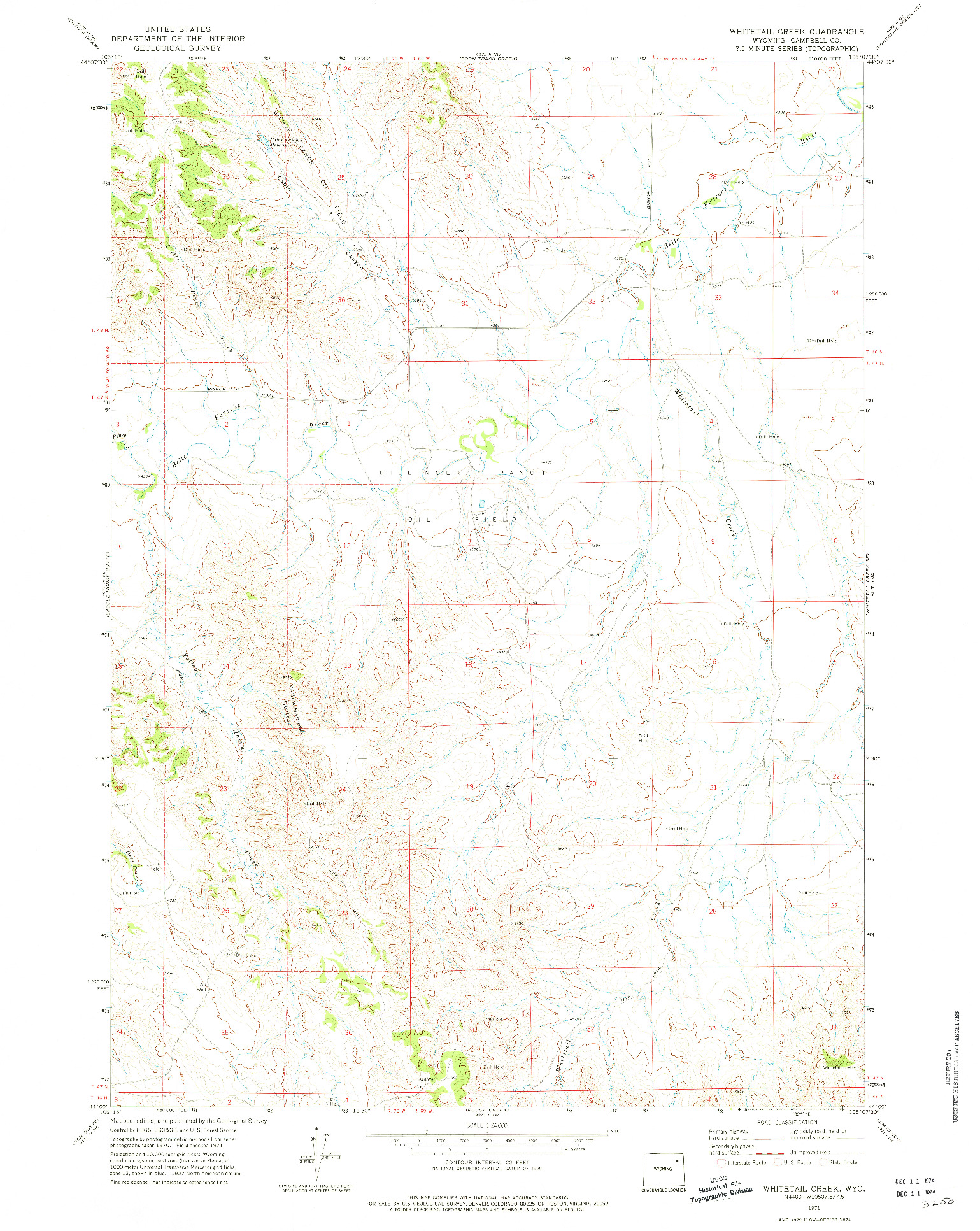 USGS 1:24000-SCALE QUADRANGLE FOR WHITETAIL CREEK, WY 1971