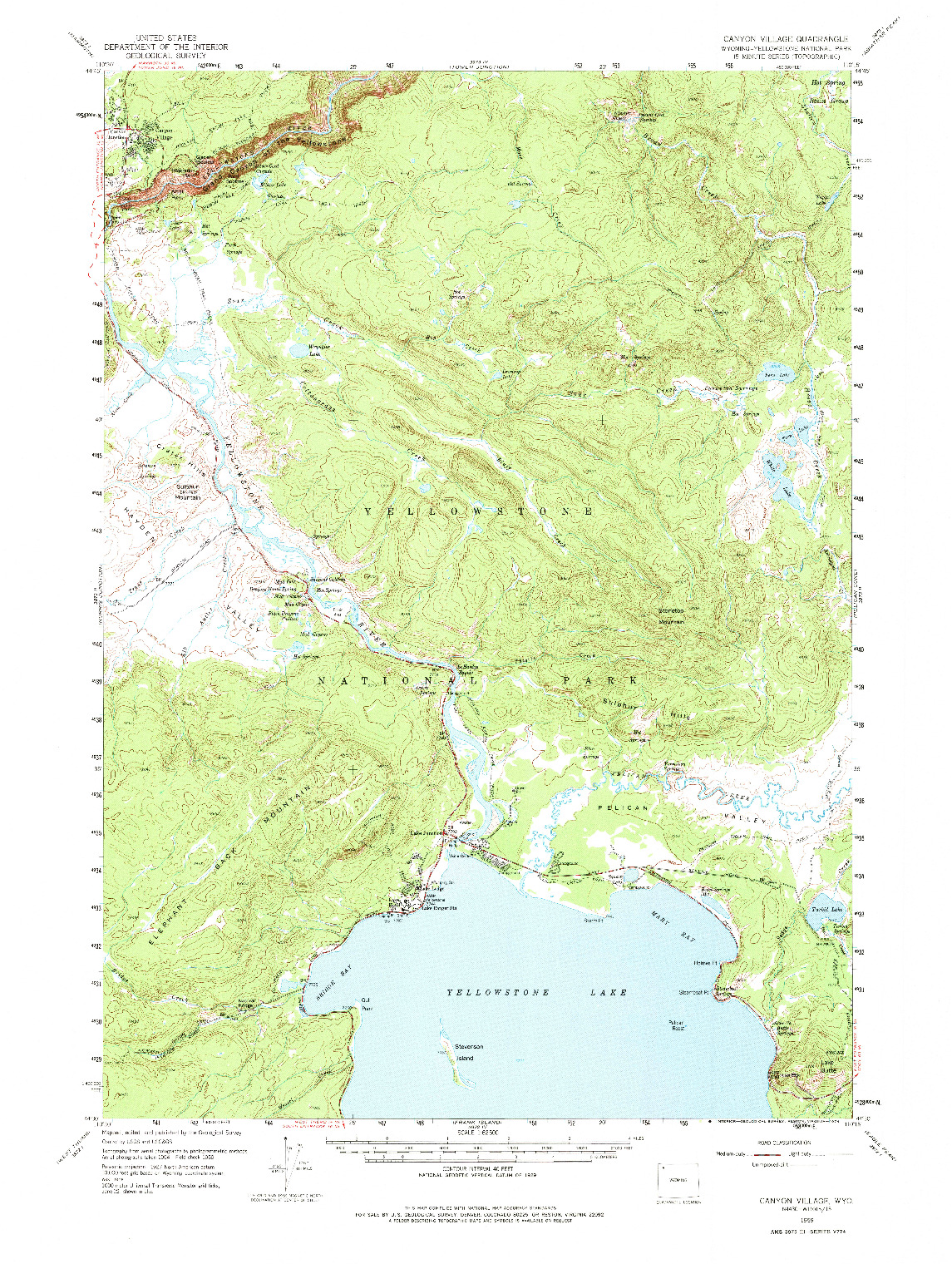USGS 1:62500-SCALE QUADRANGLE FOR CANYON VILLAGE, WY 1959