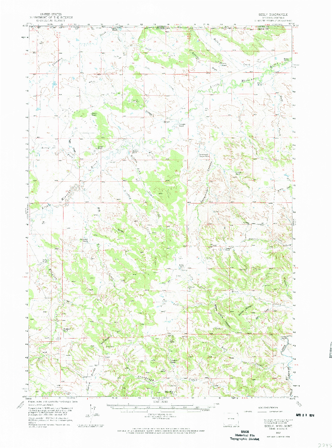 USGS 1:62500-SCALE QUADRANGLE FOR SEELY, WY 1957