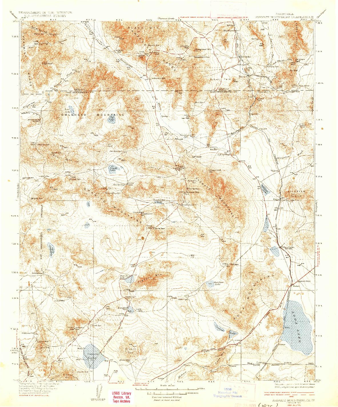 USGS 1:250000-SCALE QUADRANGLE FOR AVAWATZ MOUNTAINS, CA 1933