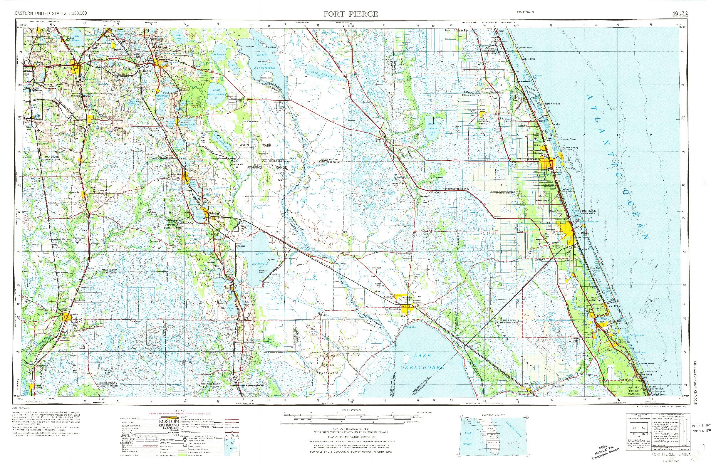 USGS 1:250000-SCALE QUADRANGLE FOR FORT PIERCE, FL 1956