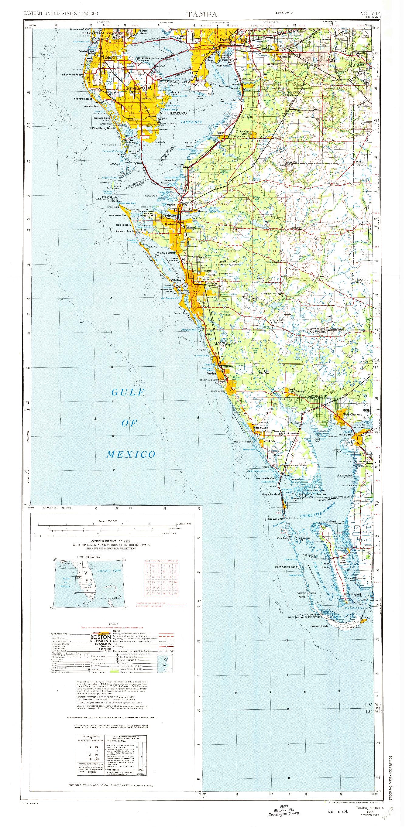 USGS 1:250000-SCALE QUADRANGLE FOR TAMPA, FL 1972