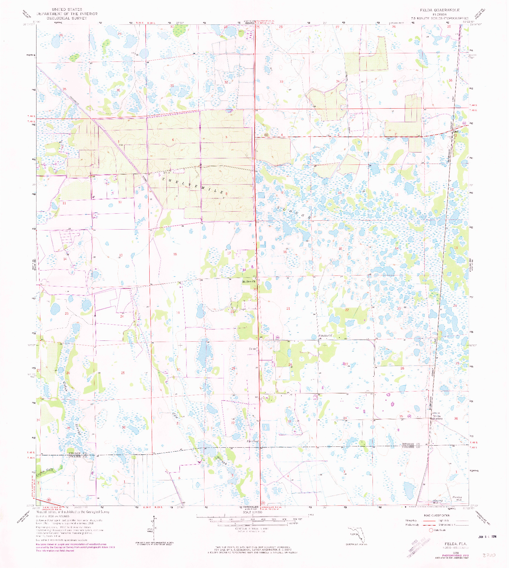 USGS 1:24000-SCALE QUADRANGLE FOR FELDA, FL 1958