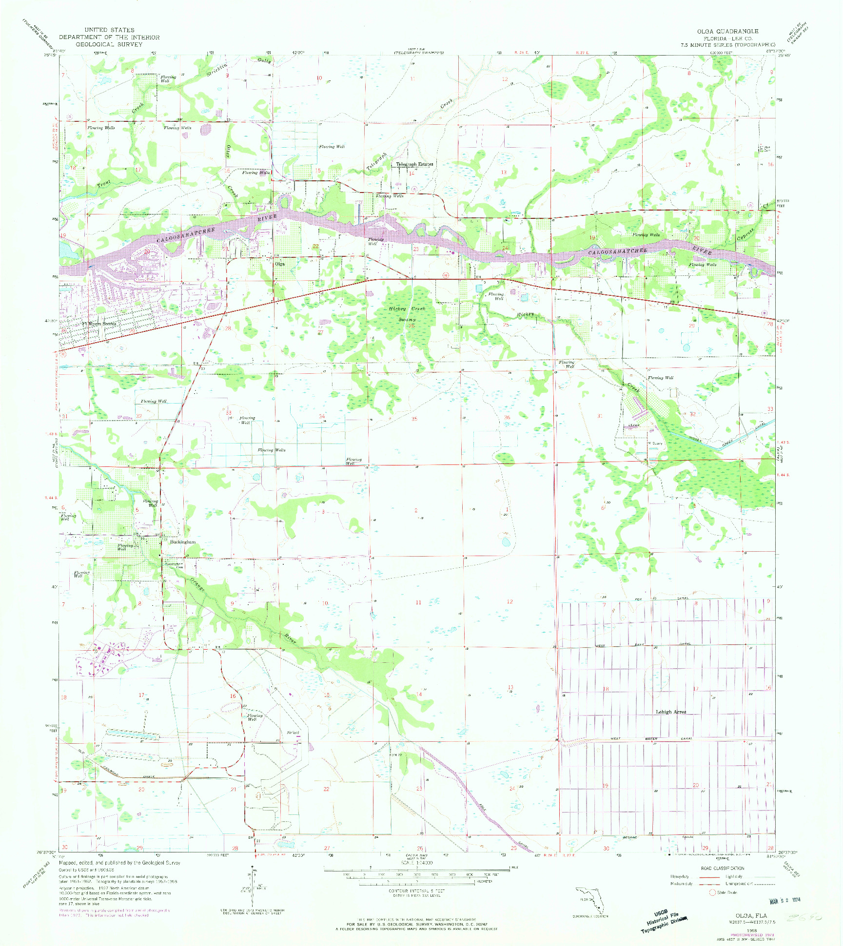 USGS 1:24000-SCALE QUADRANGLE FOR OLGA, FL 1958