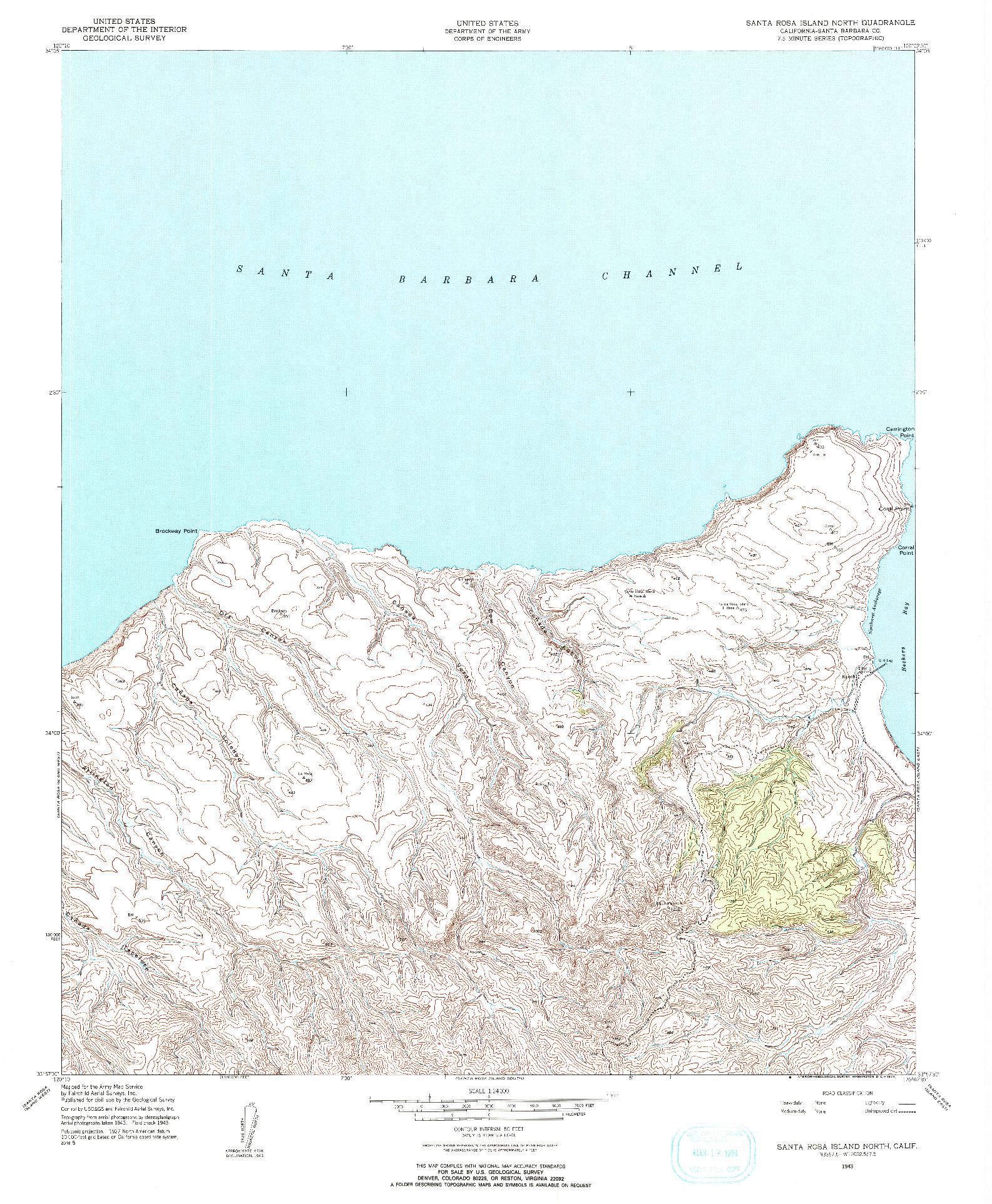 USGS 1:24000-SCALE QUADRANGLE FOR SANTA ROSA ISLAND NORTH, CA 1943