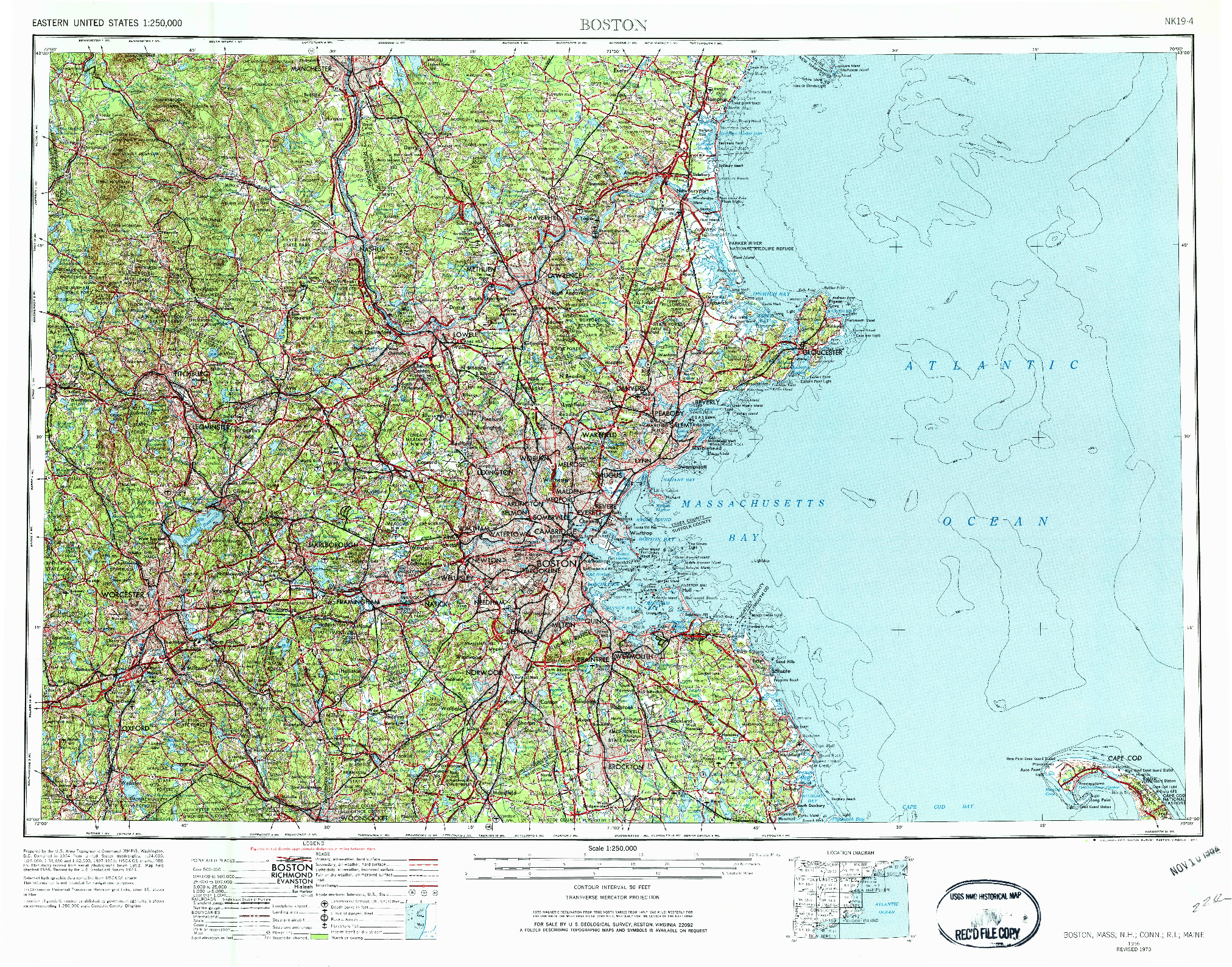 USGS 1:250000-SCALE QUADRANGLE FOR BOSTON, MA 1956
