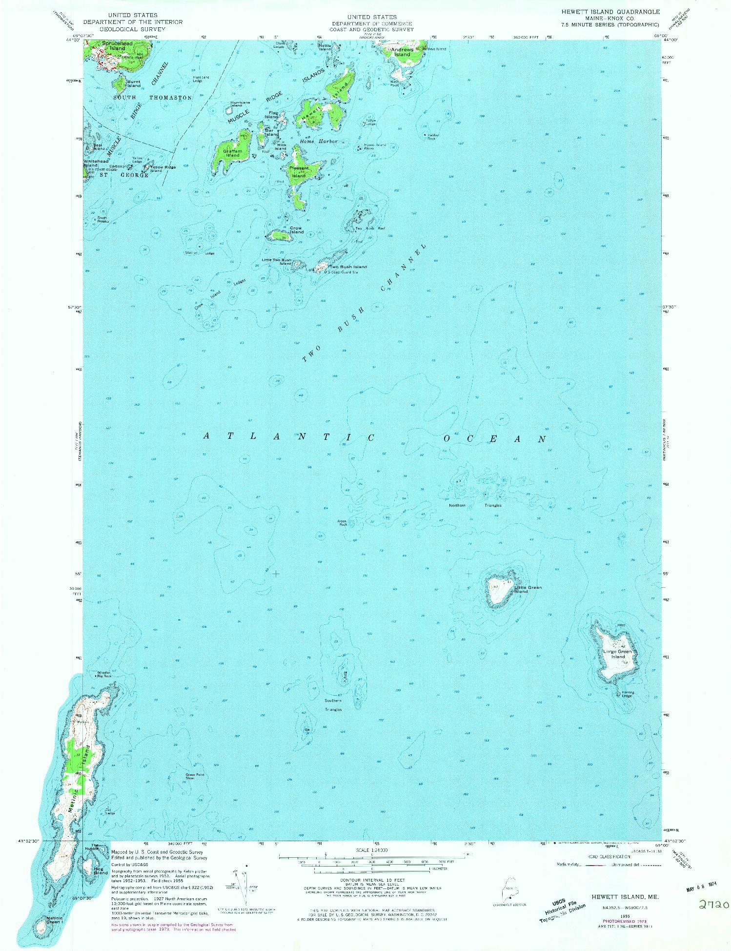 USGS 1:24000-SCALE QUADRANGLE FOR HEWETT ISLAND, ME 1955