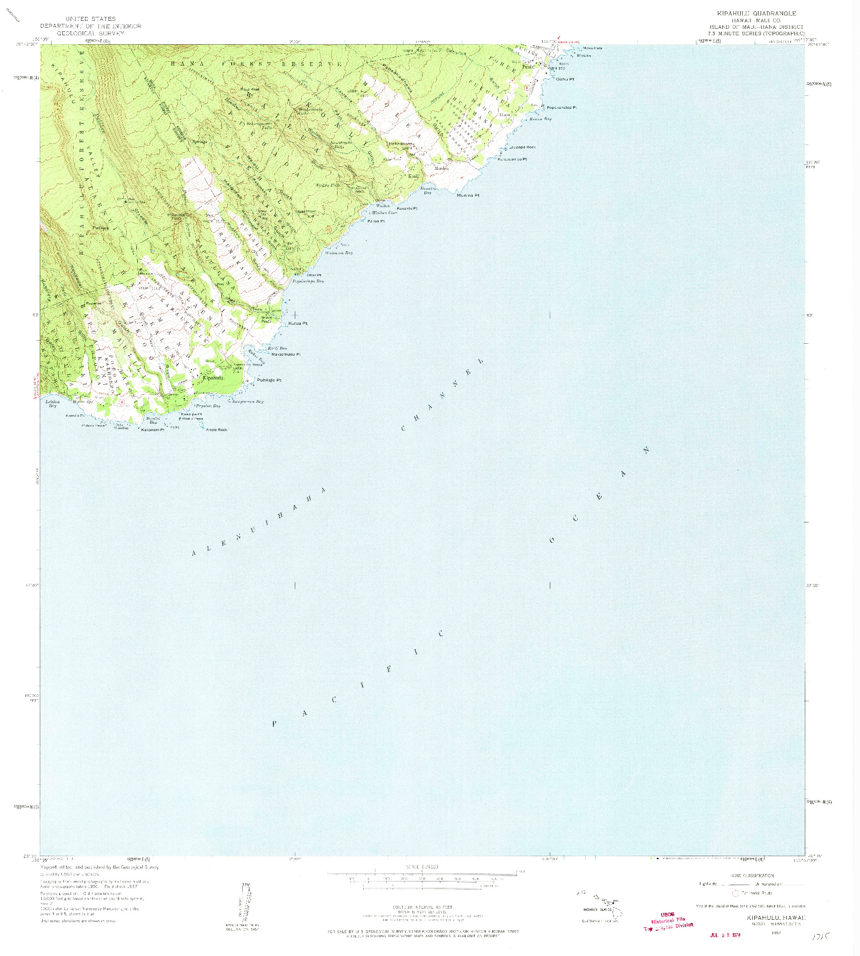 USGS 1:24000-SCALE QUADRANGLE FOR KIPAHULU, HI 1957