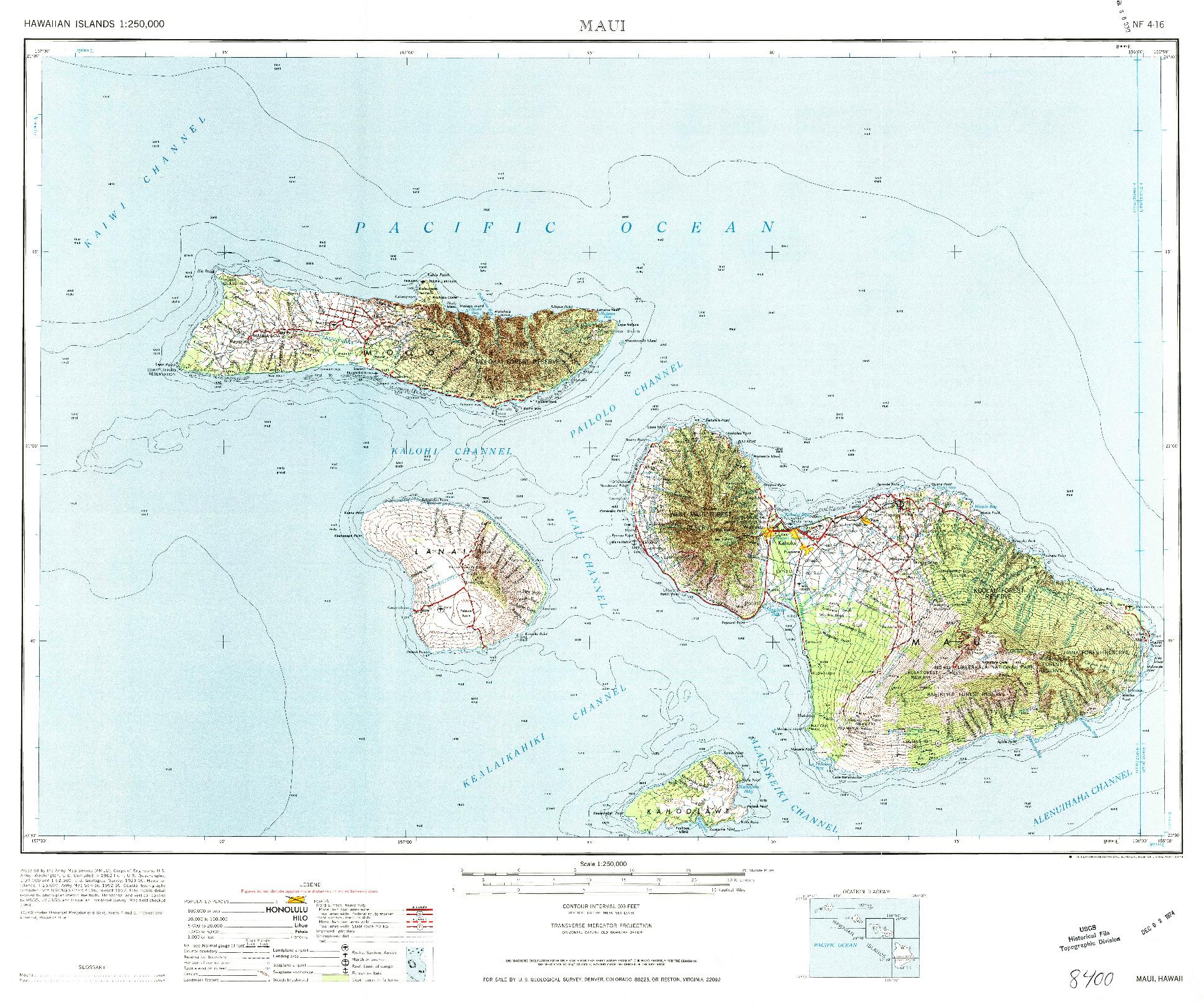 USGS 1:250000-SCALE QUADRANGLE FOR MAUI, HI 1974