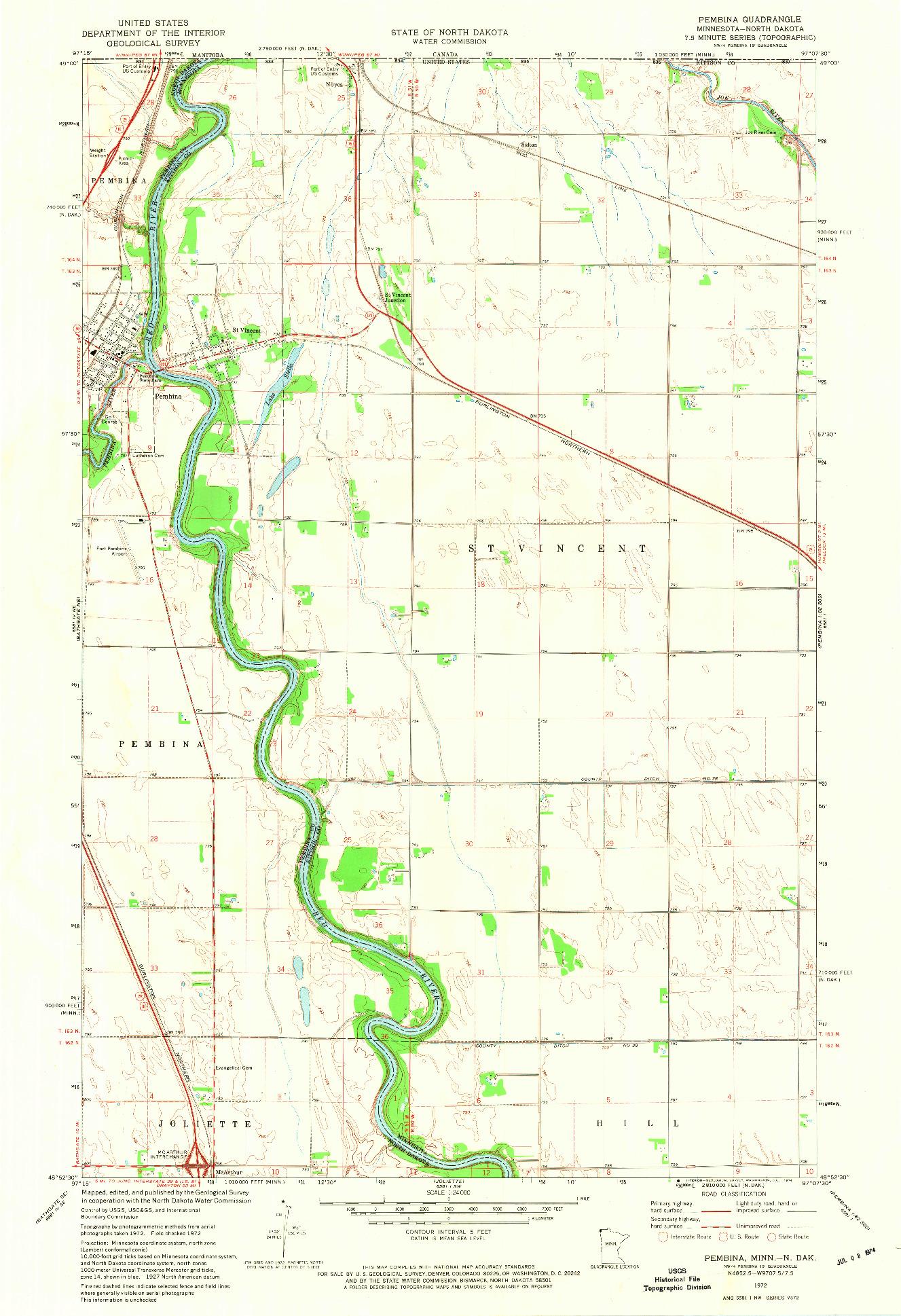 USGS 1:24000-SCALE QUADRANGLE FOR PEMBINA, MN 1972