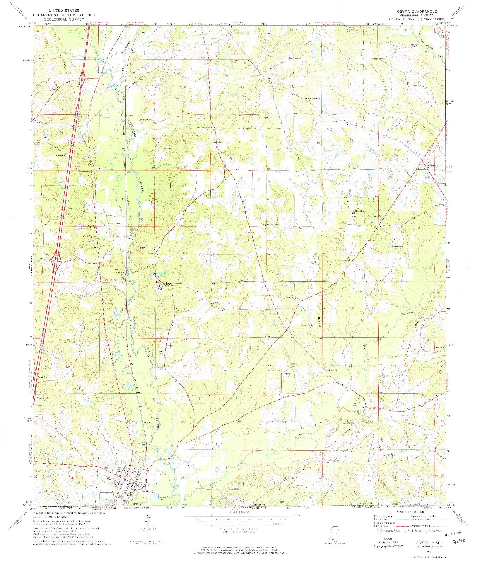 USGS 1:24000-SCALE QUADRANGLE FOR OSYKA, MS 1972