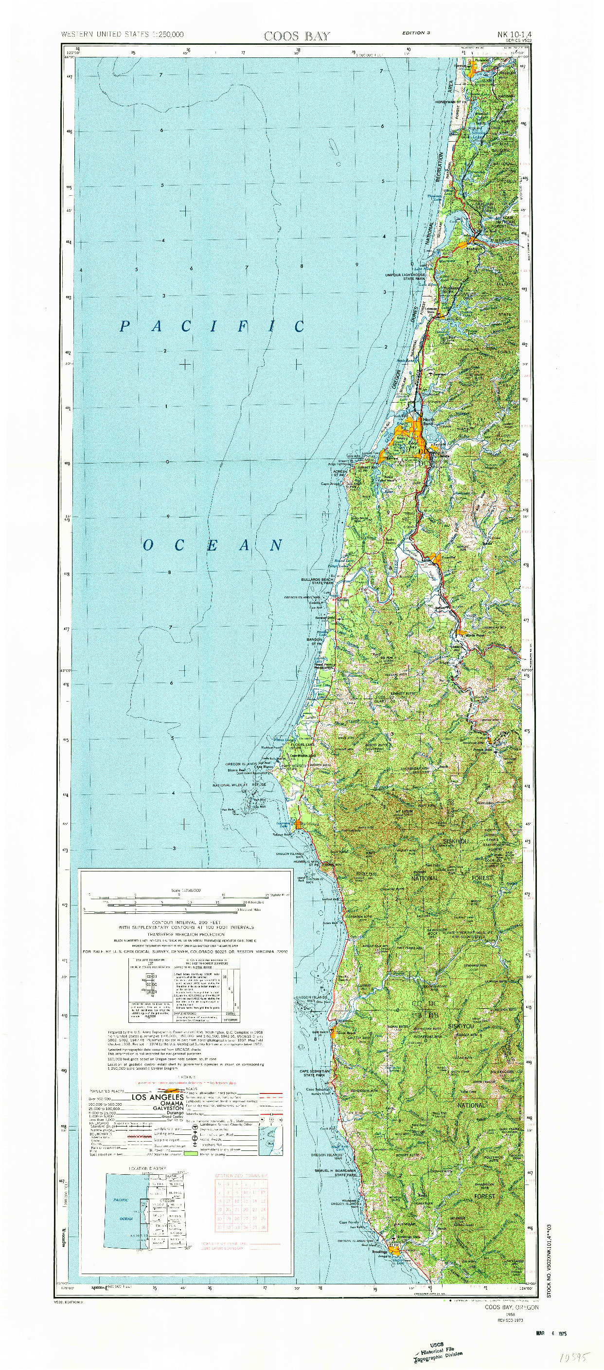 USGS 1:250000-SCALE QUADRANGLE FOR COOS BAY, OR 1958