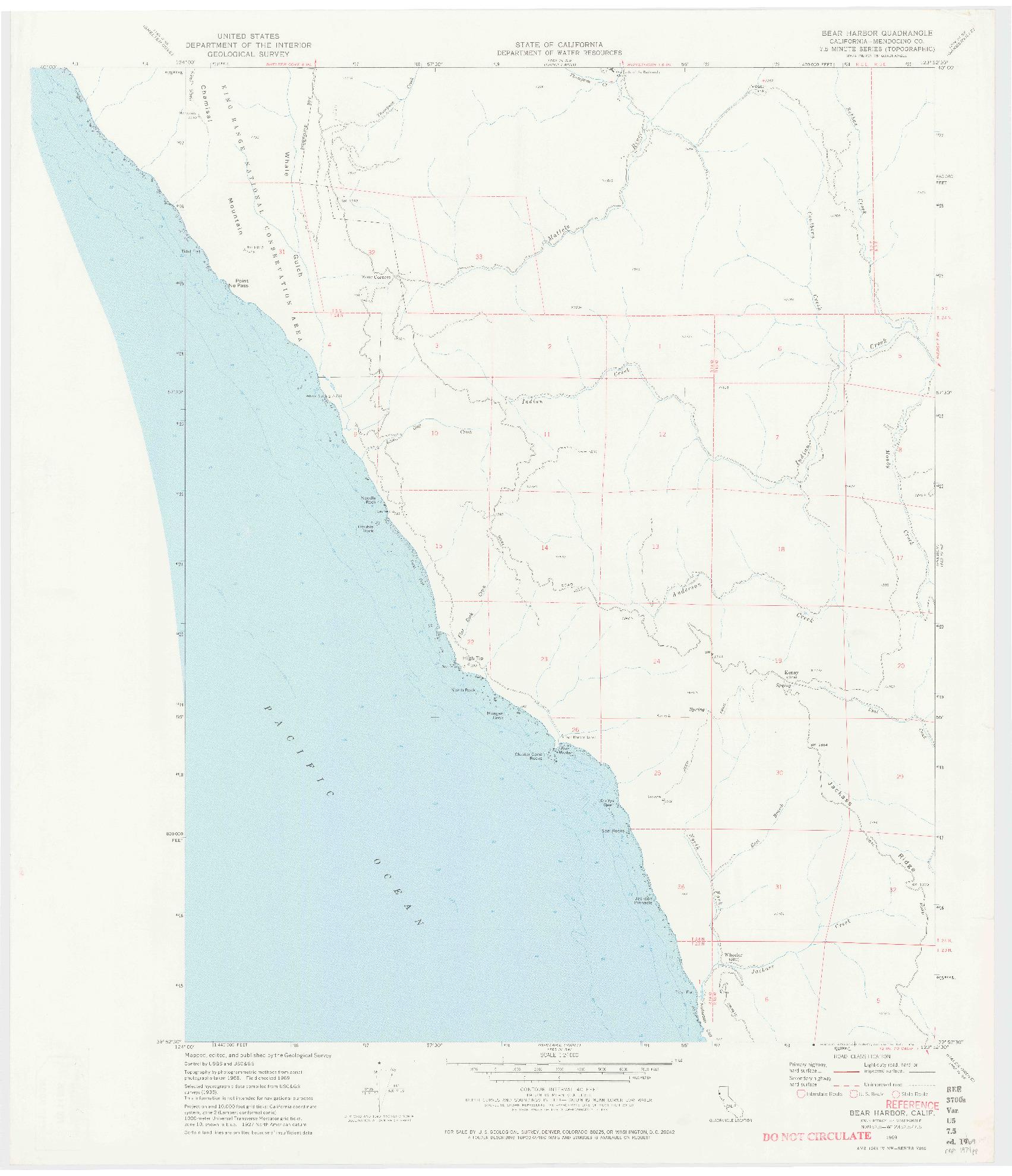 USGS 1:24000-SCALE QUADRANGLE FOR BEAR HARBOR, CA 1969