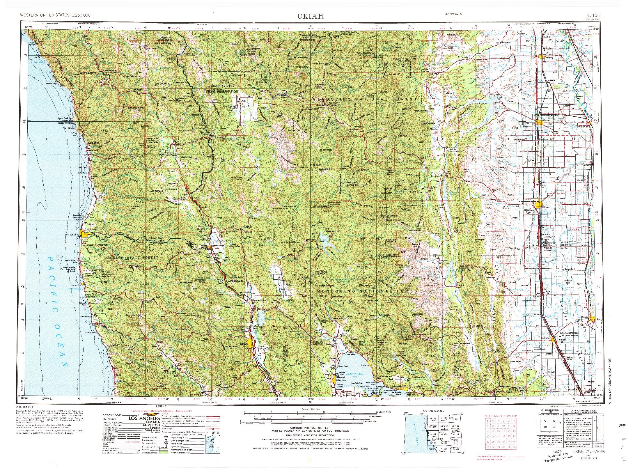 USGS 1:250000-SCALE QUADRANGLE FOR UKIAH, CA 1957