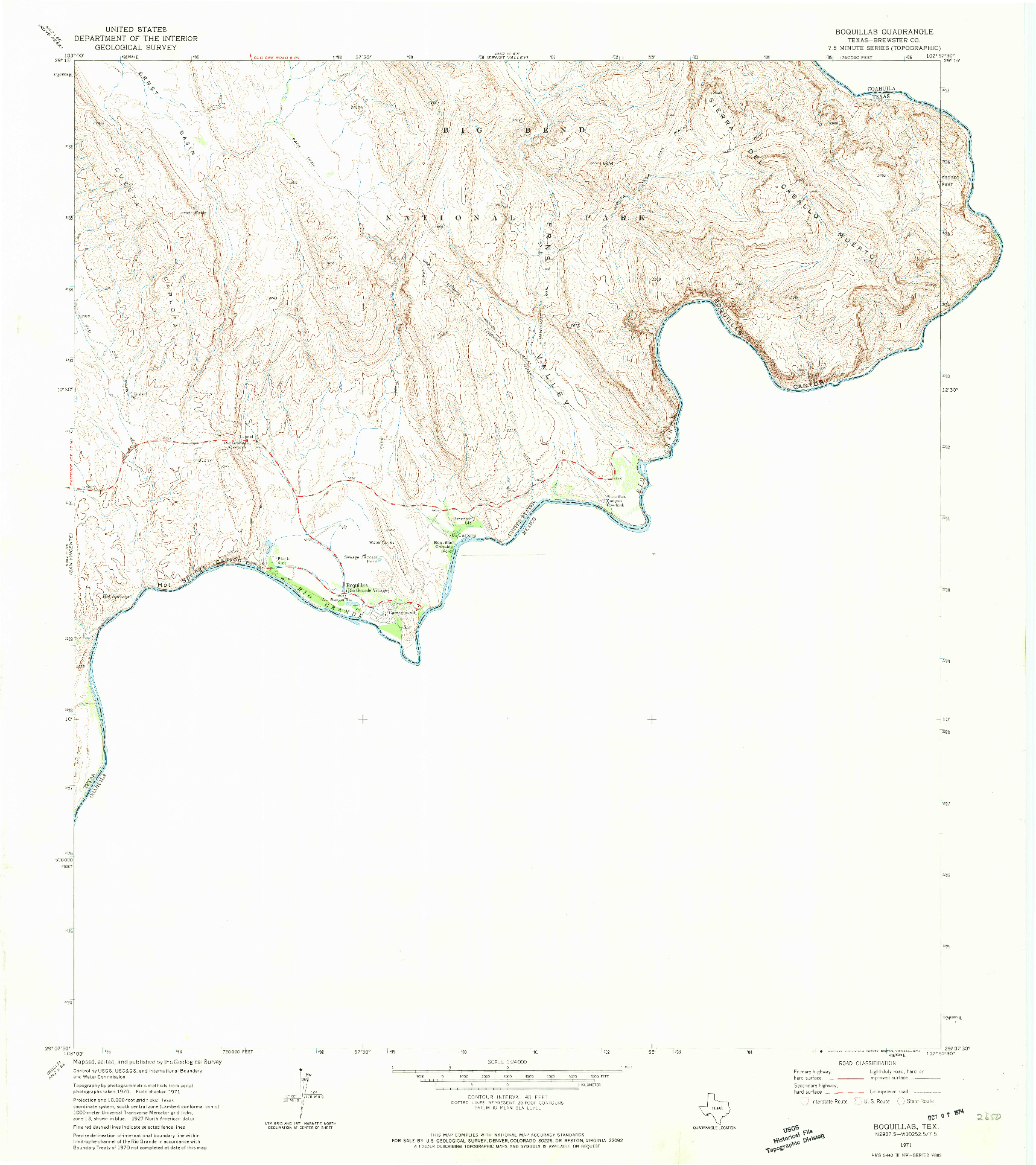 USGS 1:24000-SCALE QUADRANGLE FOR BOQUILLAS, TX 1971