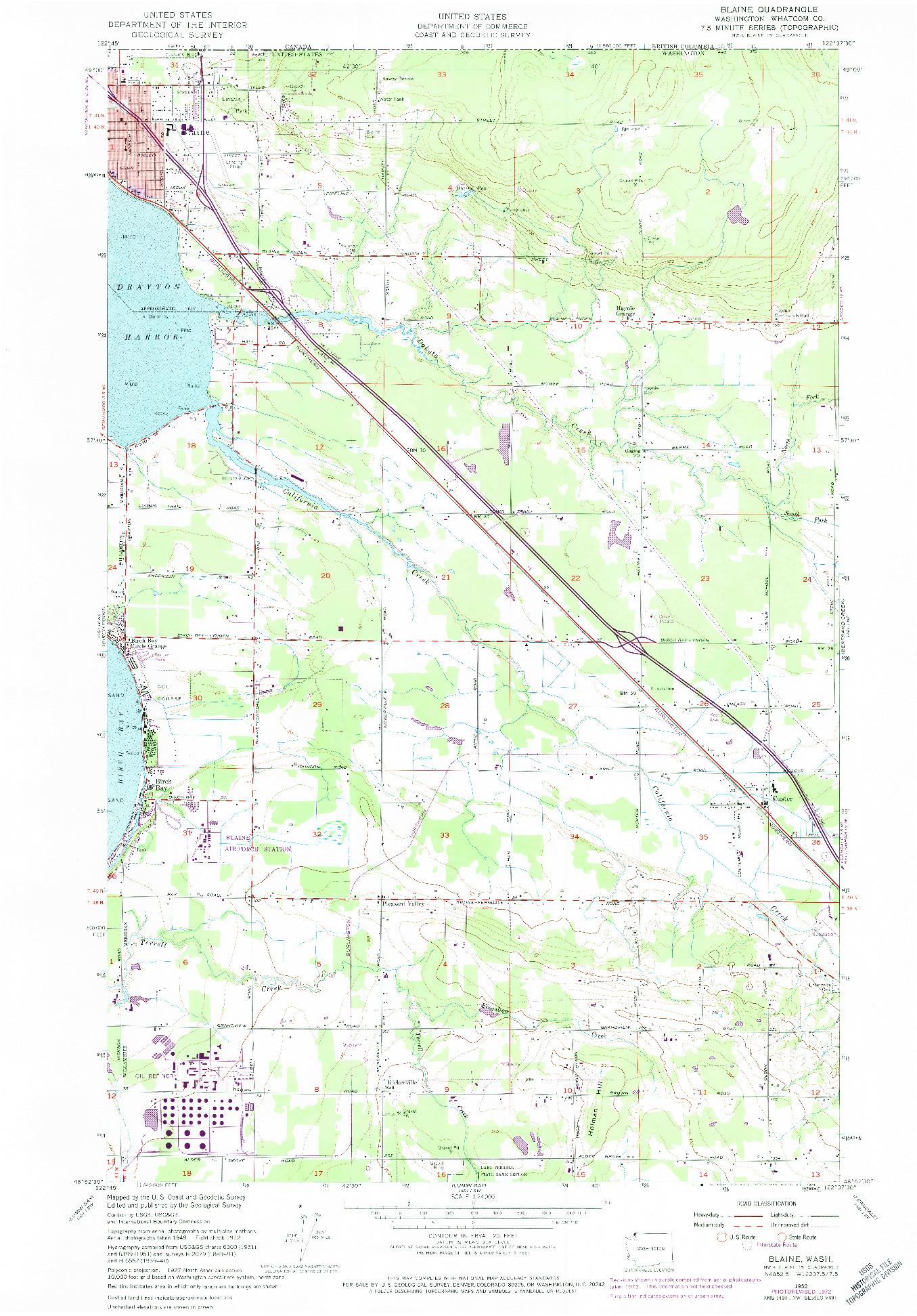USGS 1:24000-SCALE QUADRANGLE FOR BLAINE, WA 1952