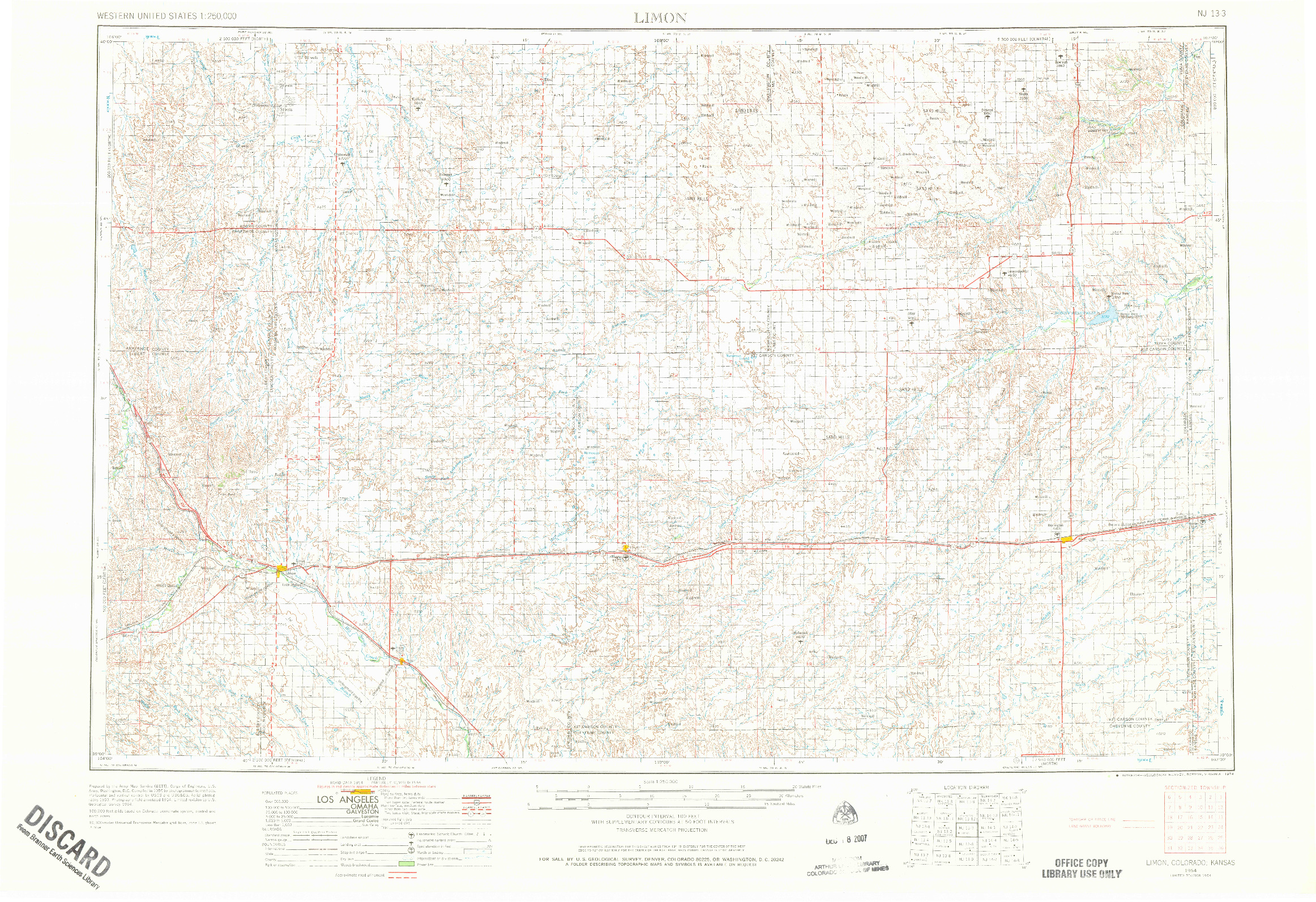 USGS 1:250000-SCALE QUADRANGLE FOR LIMON, CO 1954