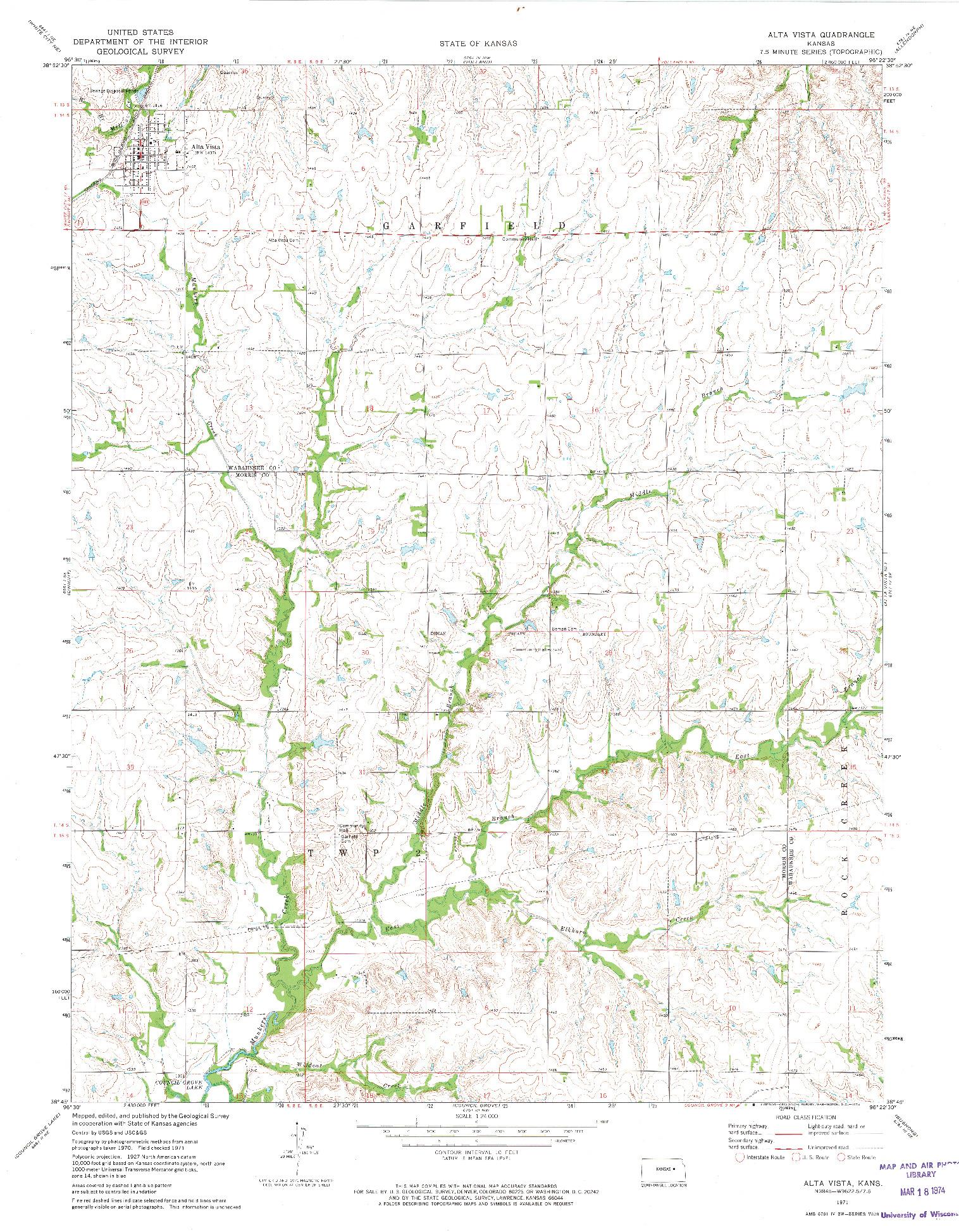 USGS 1:24000-SCALE QUADRANGLE FOR ALTA VISTA, KS 1971