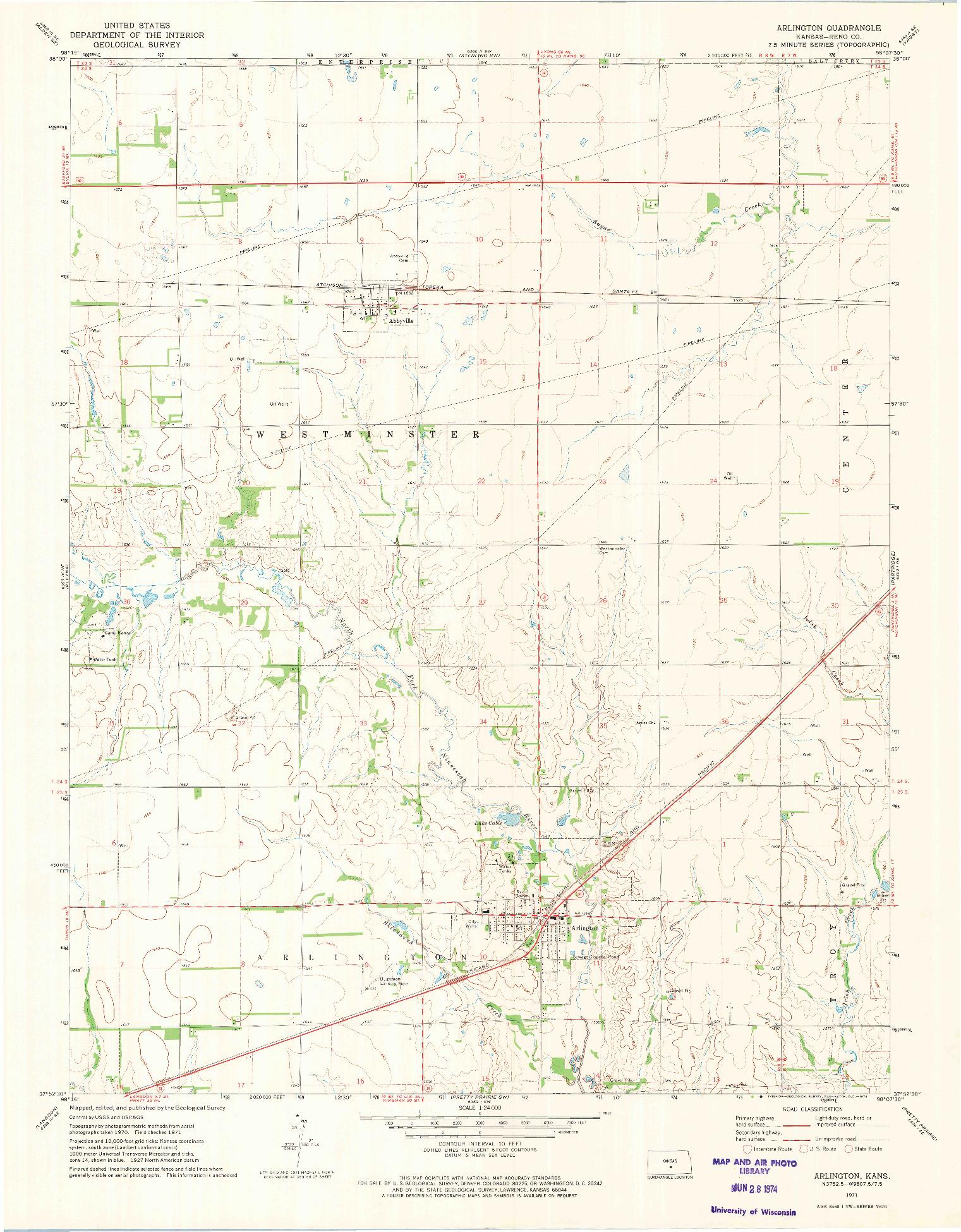 USGS 1:24000-SCALE QUADRANGLE FOR ARLINGTON, KS 1971