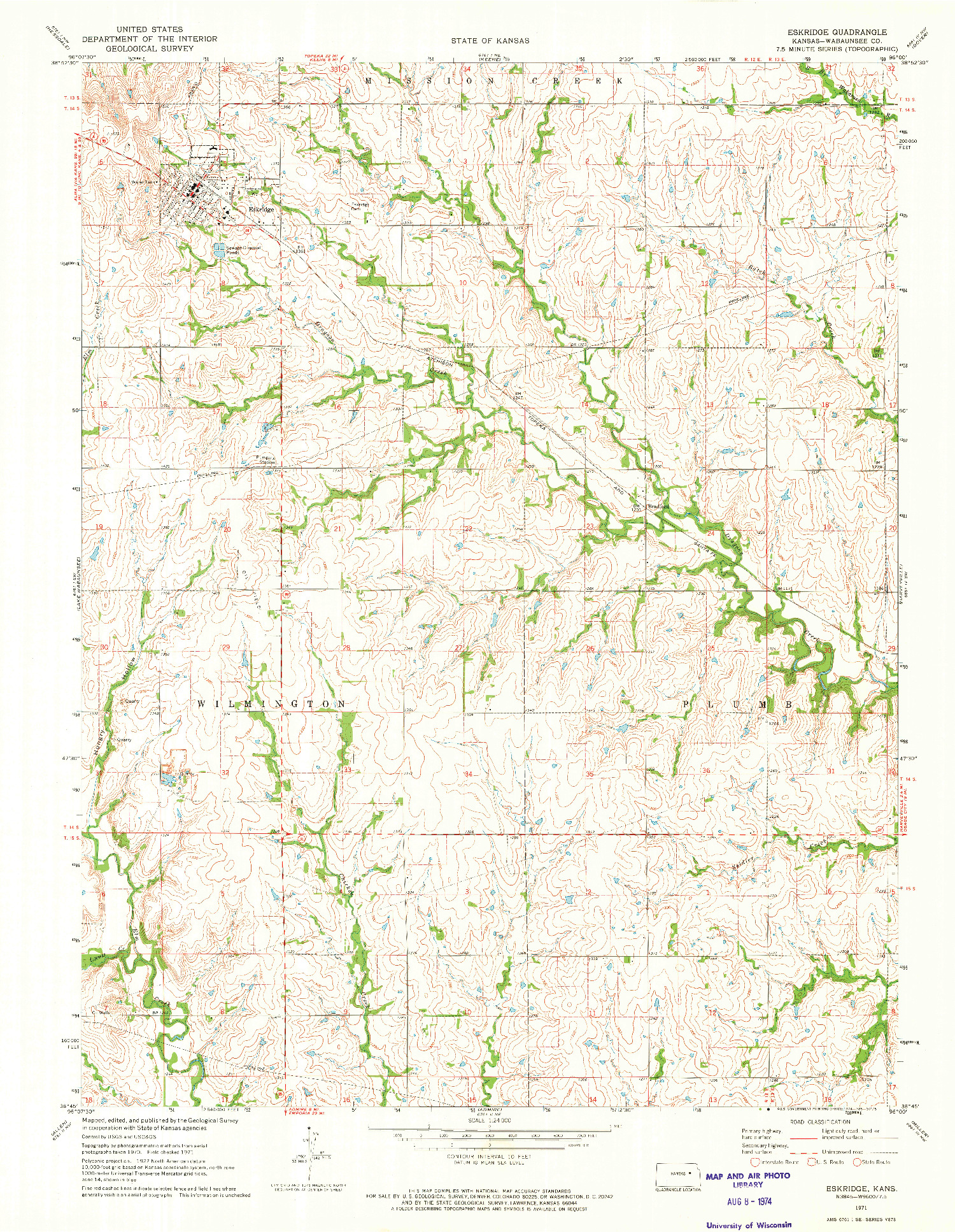 USGS 1:24000-SCALE QUADRANGLE FOR ESKRIDGE, KS 1971