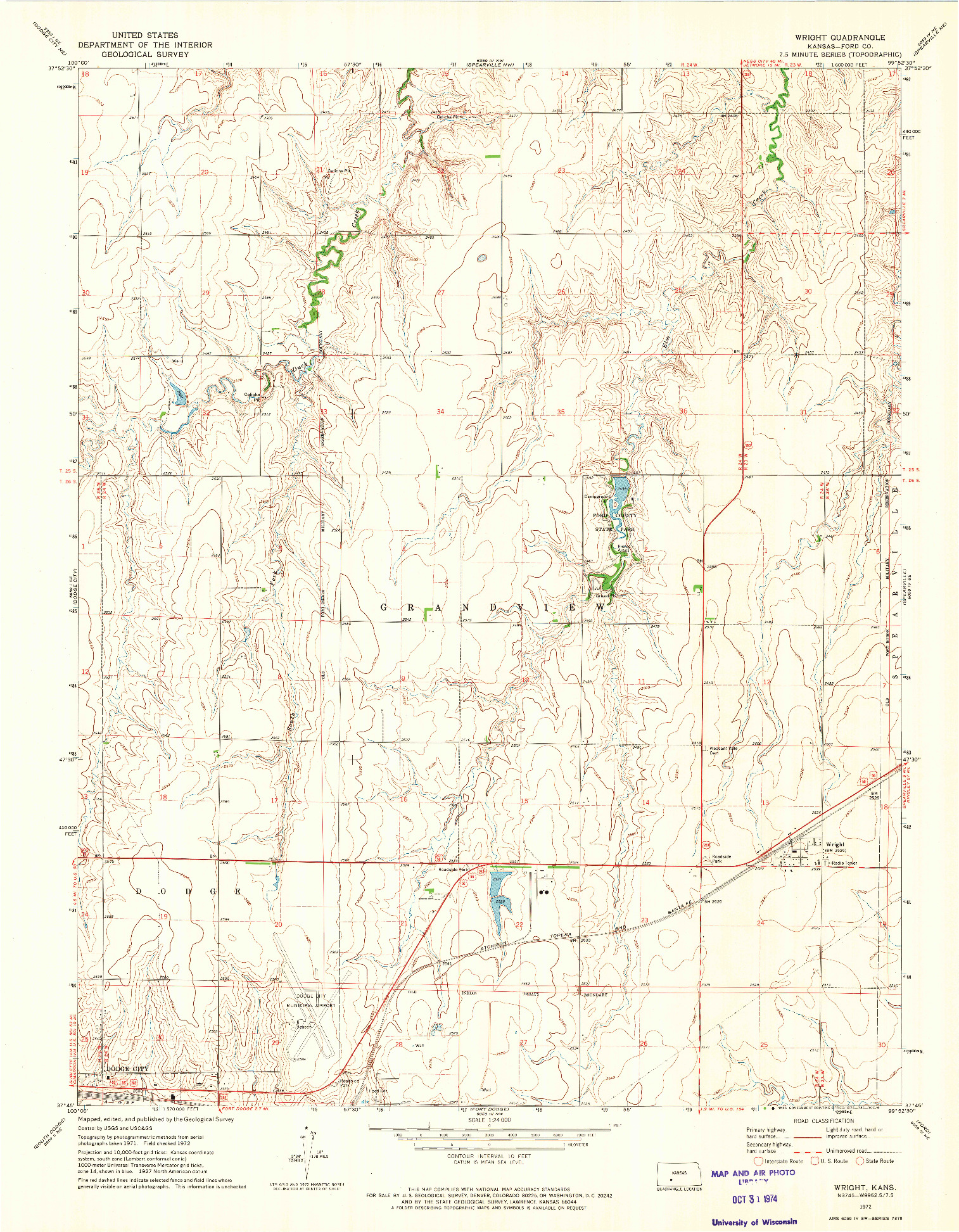 USGS 1:24000-SCALE QUADRANGLE FOR WRIGHT, KS 1972