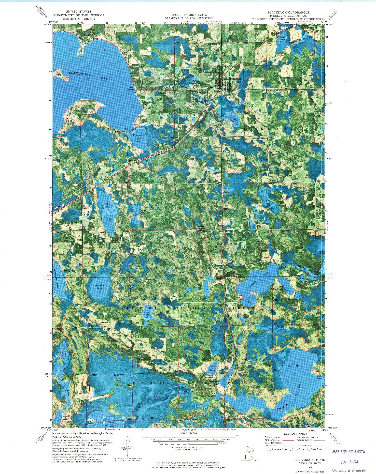 USGS 1:24000-SCALE QUADRANGLE FOR BLACKDUCK, MN 1972