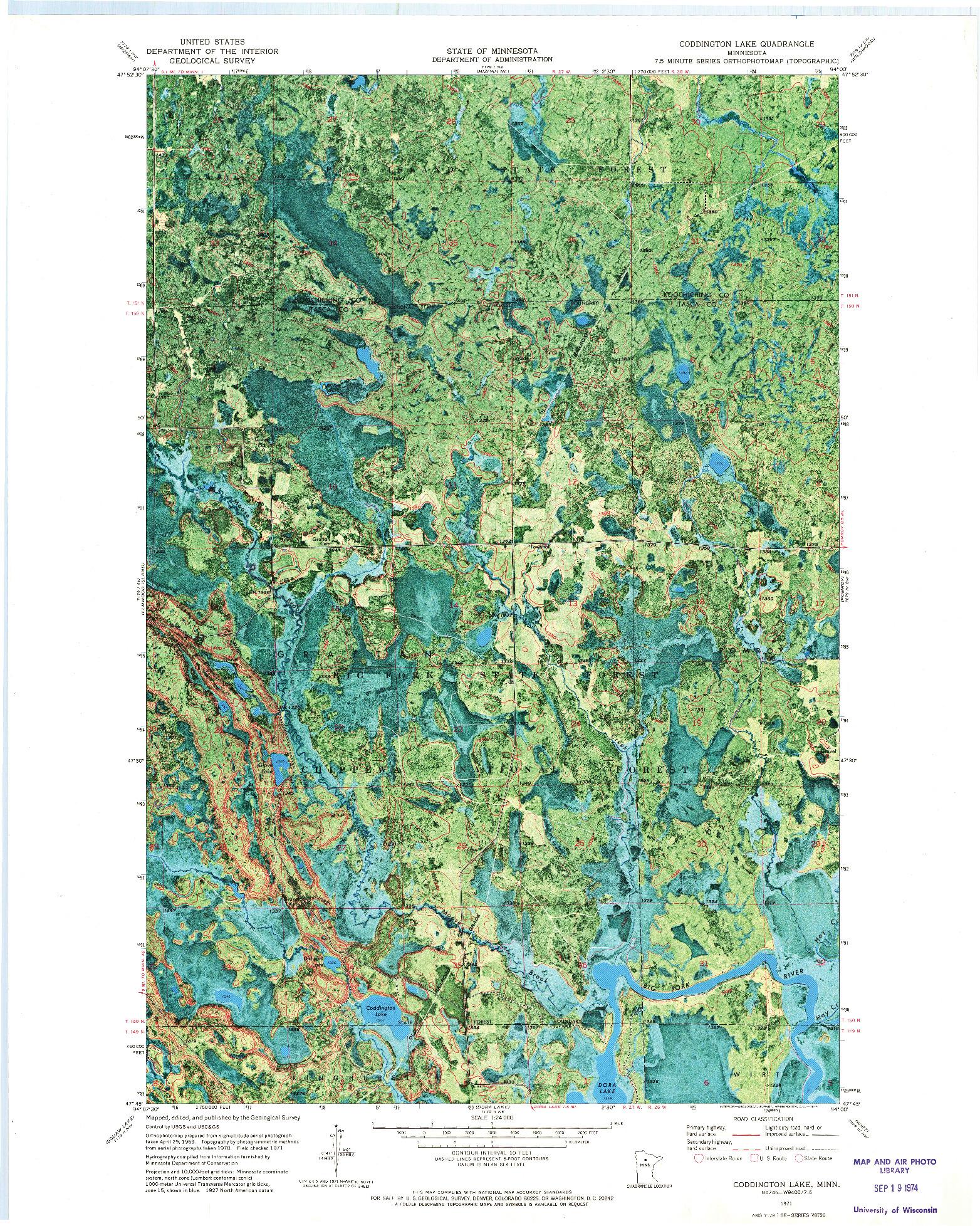 USGS 1:24000-SCALE QUADRANGLE FOR CODDINGTON LAKE, MN 1971