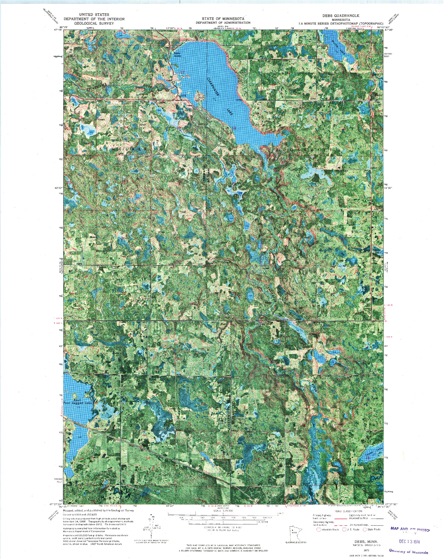 USGS 1:24000-SCALE QUADRANGLE FOR DEBS, MN 1972
