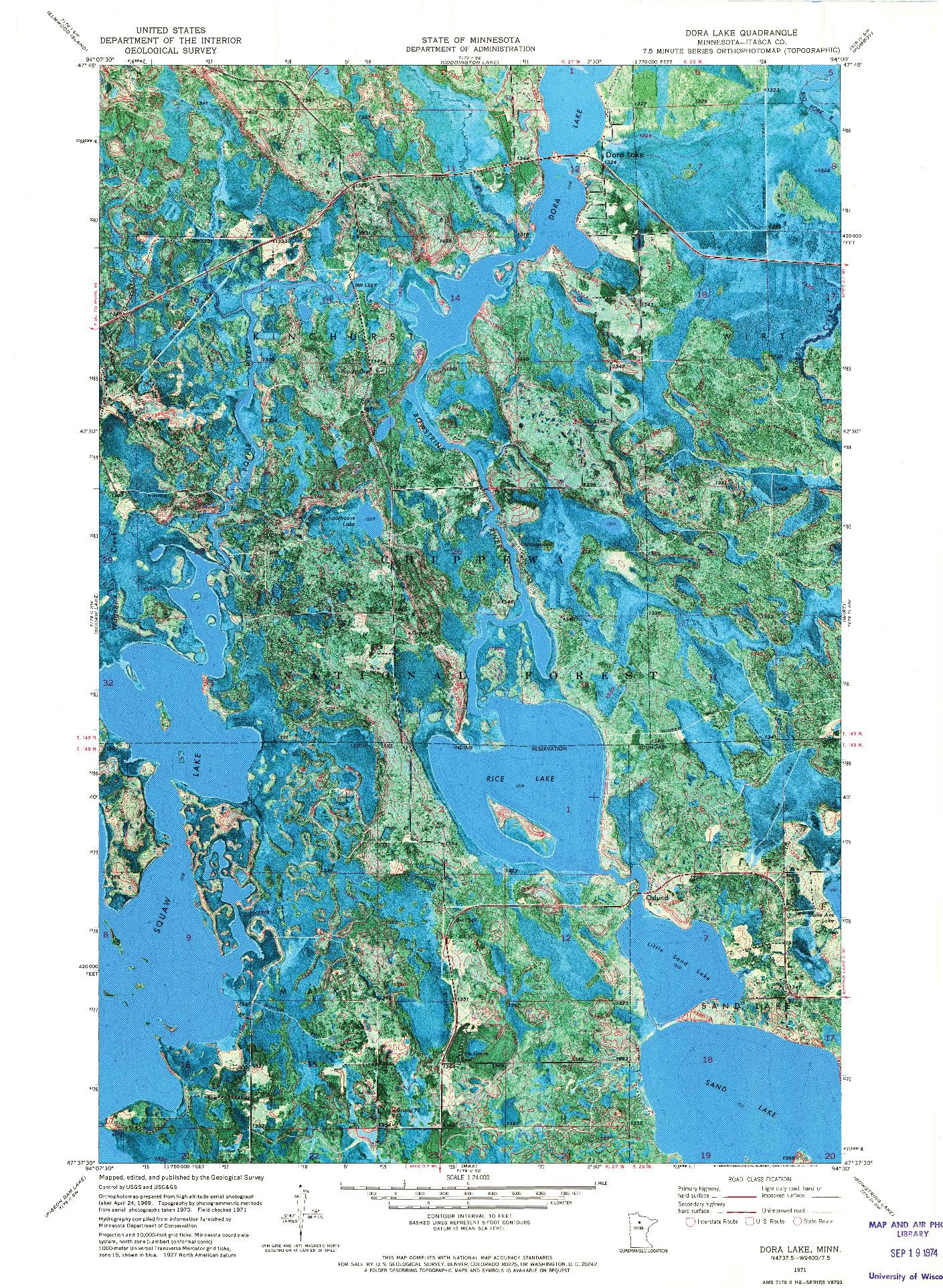 USGS 1:24000-SCALE QUADRANGLE FOR DORA LAKE, MN 1971