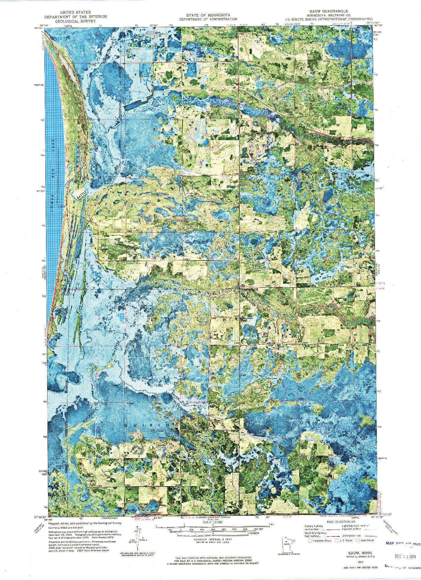 USGS 1:24000-SCALE QUADRANGLE FOR SAUM, MN 1972