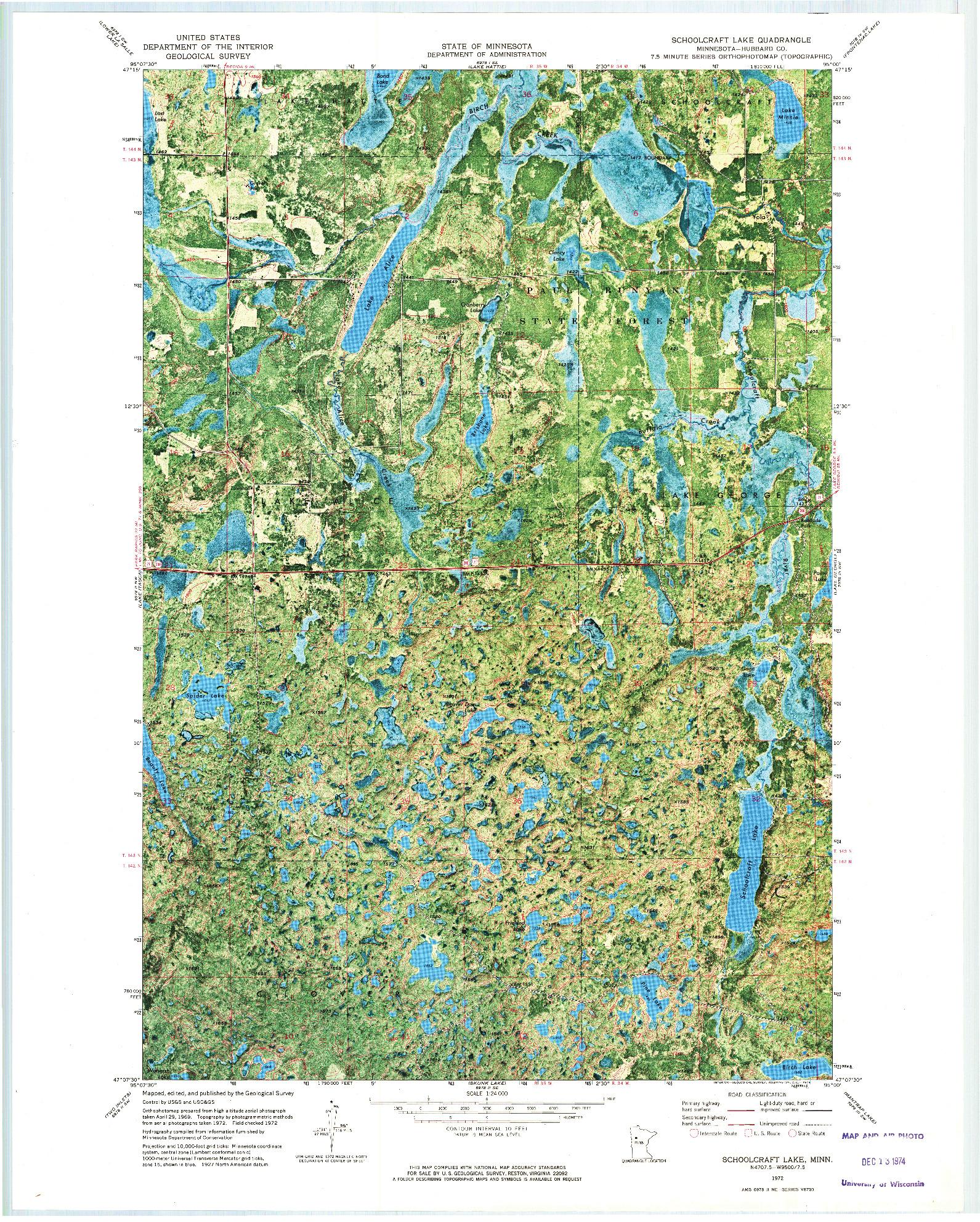 USGS 1:24000-SCALE QUADRANGLE FOR SCHOOLCRAFT LAKE, MN 1972