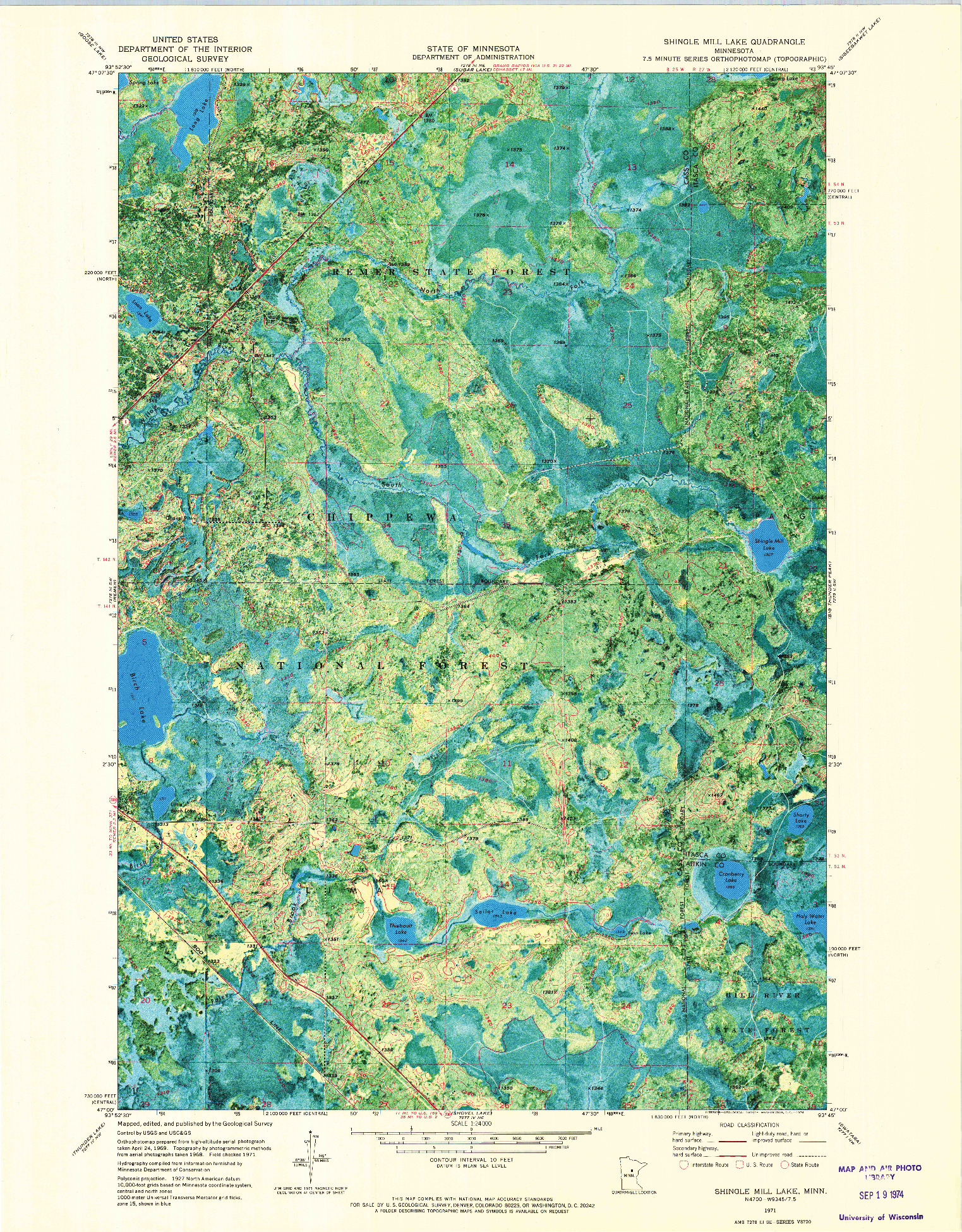 USGS 1:24000-SCALE QUADRANGLE FOR SHINGLE MILL LAKE, MN 1971