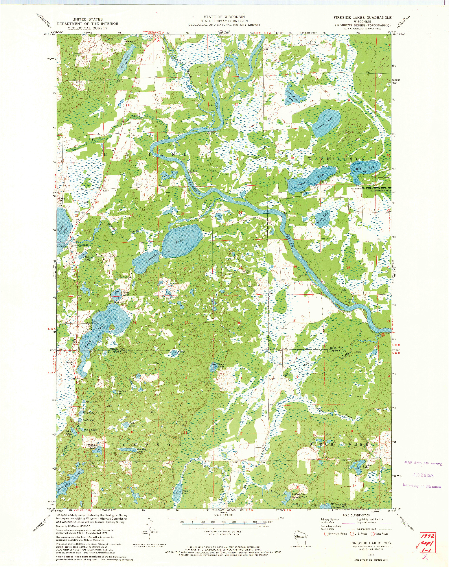USGS 1:24000-SCALE QUADRANGLE FOR FIRESIDE LAKES, WI 1972