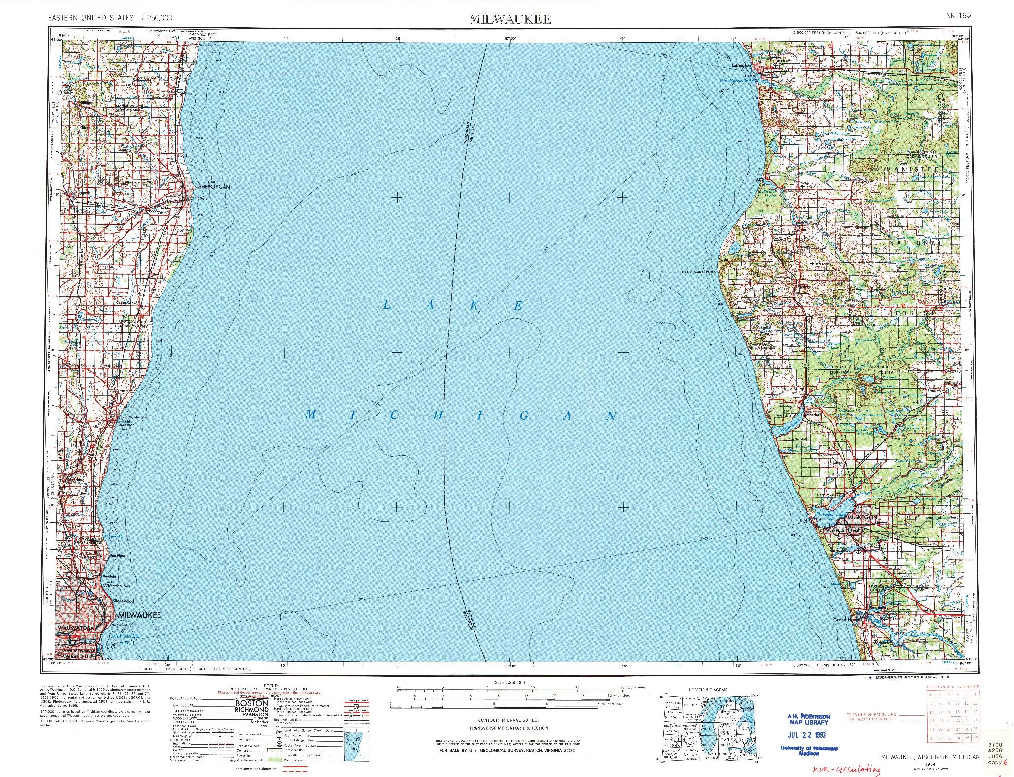 USGS 1:250000-SCALE QUADRANGLE FOR MILWAUKEE, WI 1954
