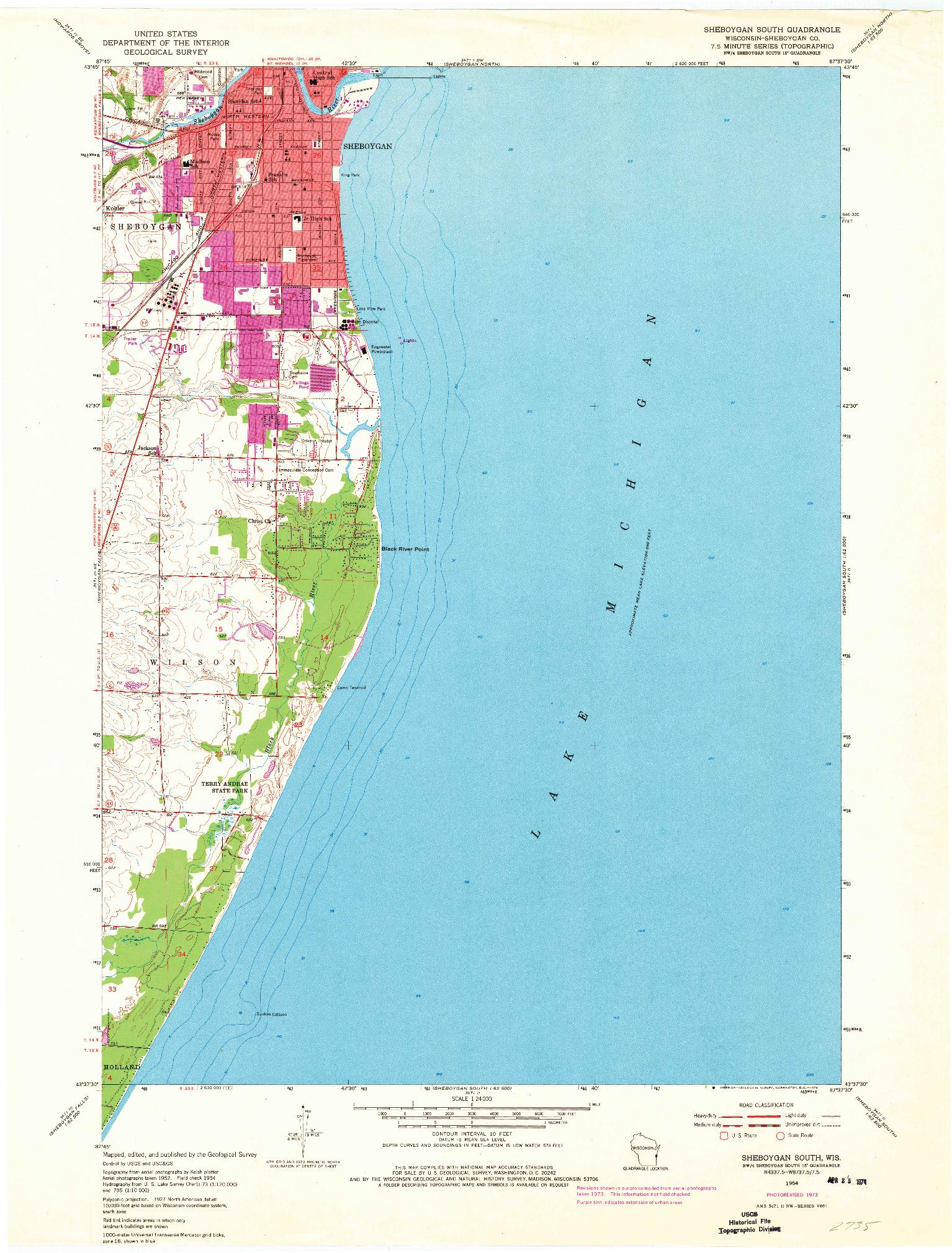 USGS 1:24000-SCALE QUADRANGLE FOR SHEBOYGAN SOUTH, WI 1954