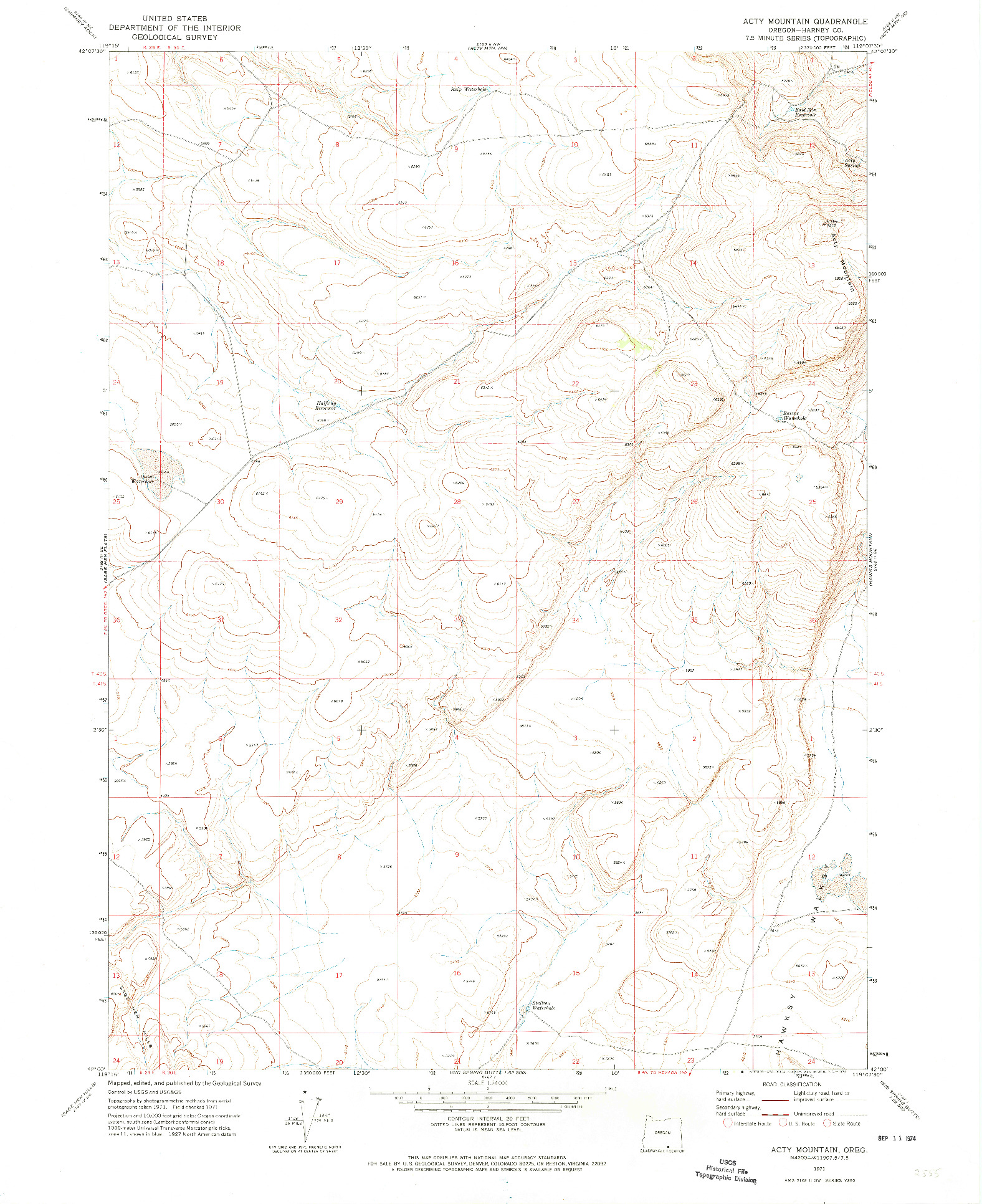 USGS 1:24000-SCALE QUADRANGLE FOR ACTY MOUNTAIN, OR 1971